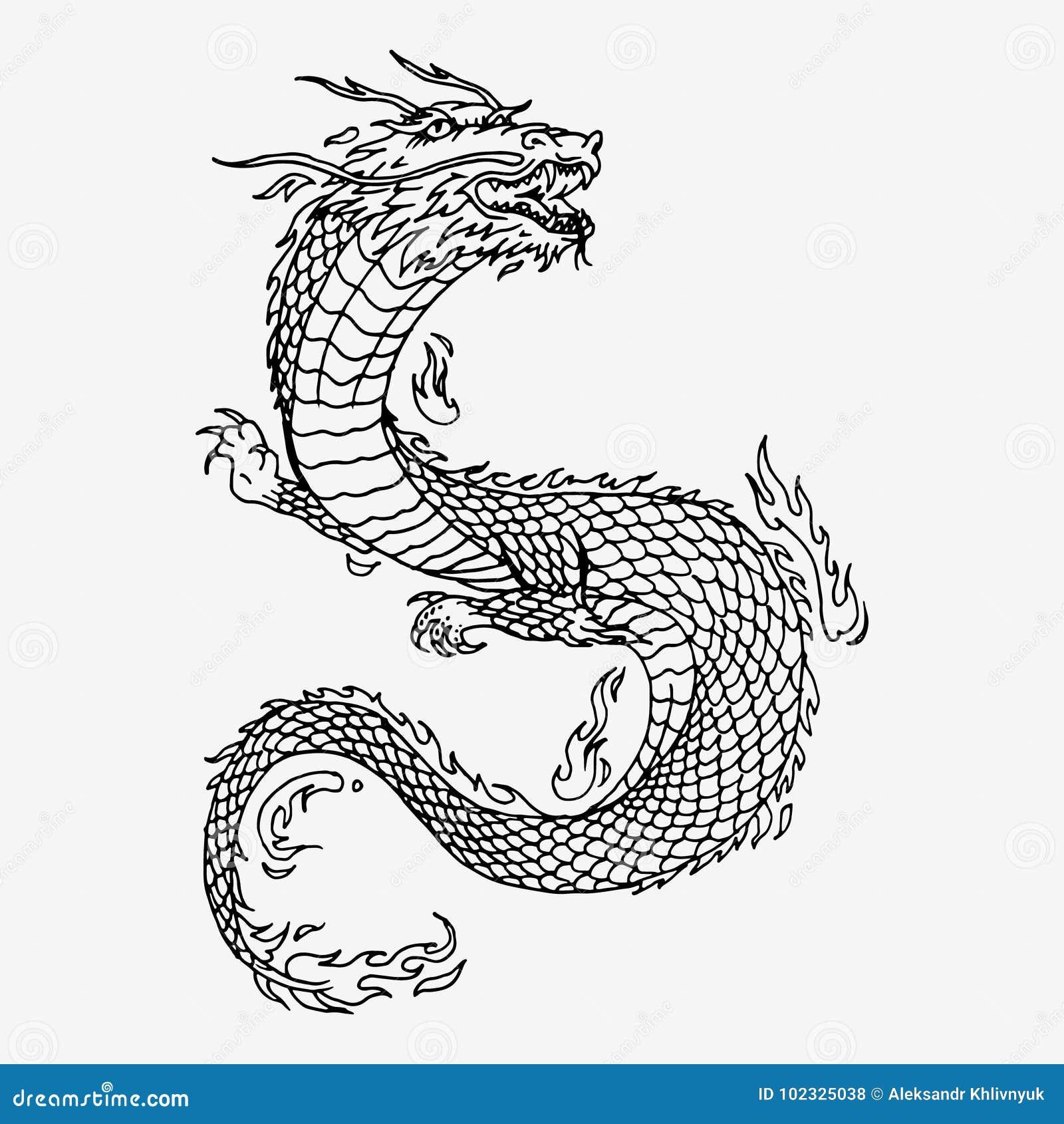 Dragon Chinois Tiré Par La Main Illustration Stock Illustration Du
