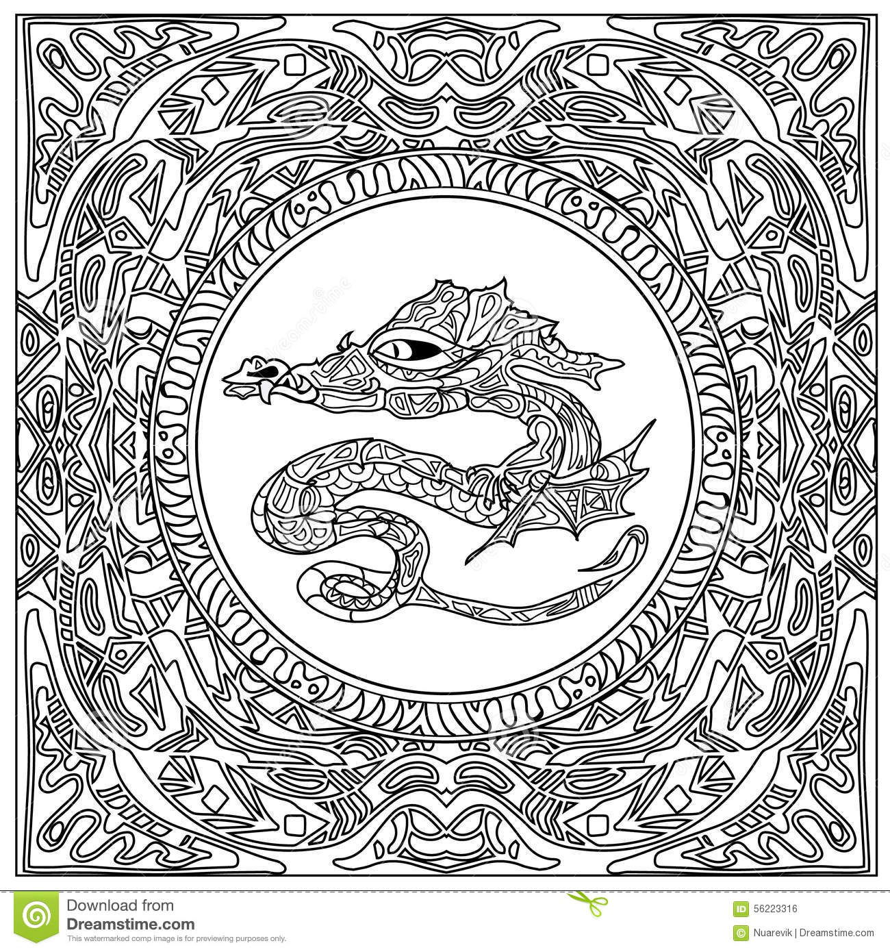 Dragon Coloring Zentangle Stock Illustration Image 56223316