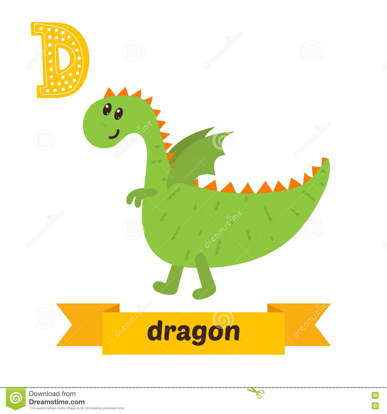 Dinosaur. D Letter. Cute Children Animal Alphabet In Vector. Fun ...