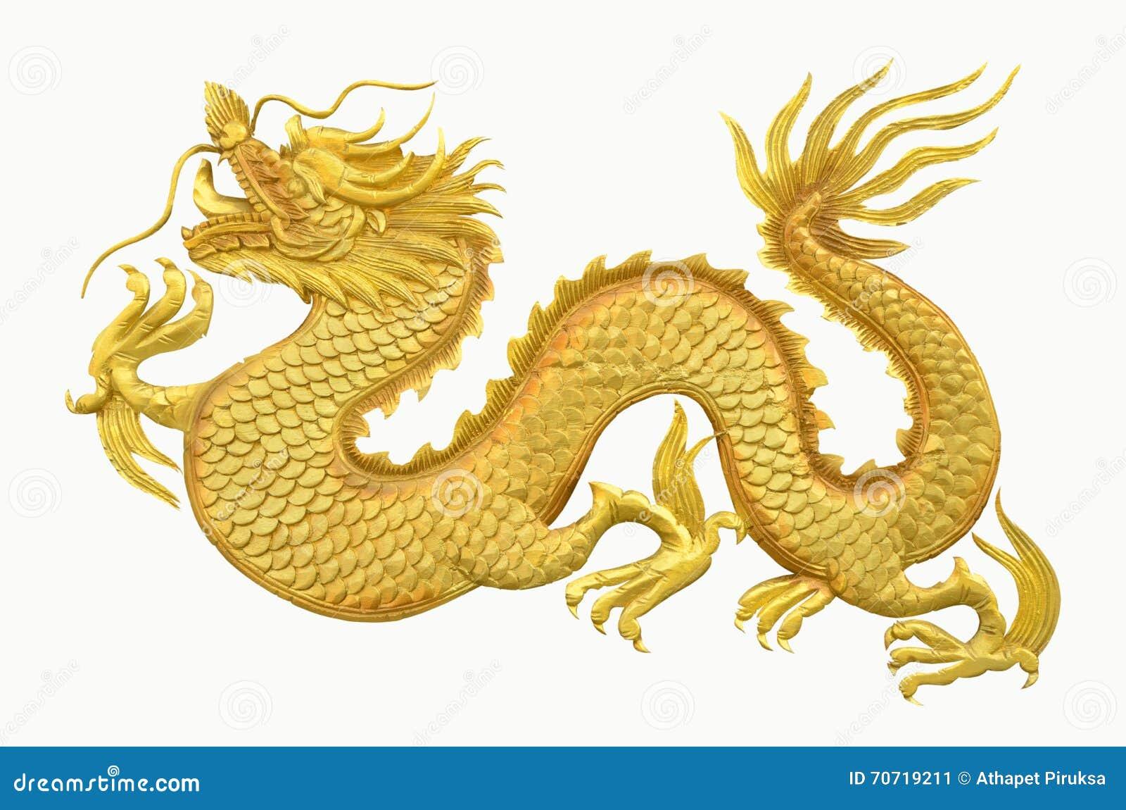 dragon d 39 or sur le fond blanc image stock image du statue chinois 70719211. Black Bedroom Furniture Sets. Home Design Ideas