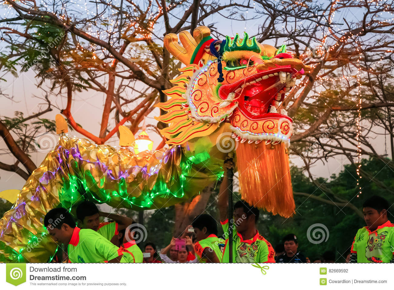 dragon dance in a chinese new year s celebration editorial