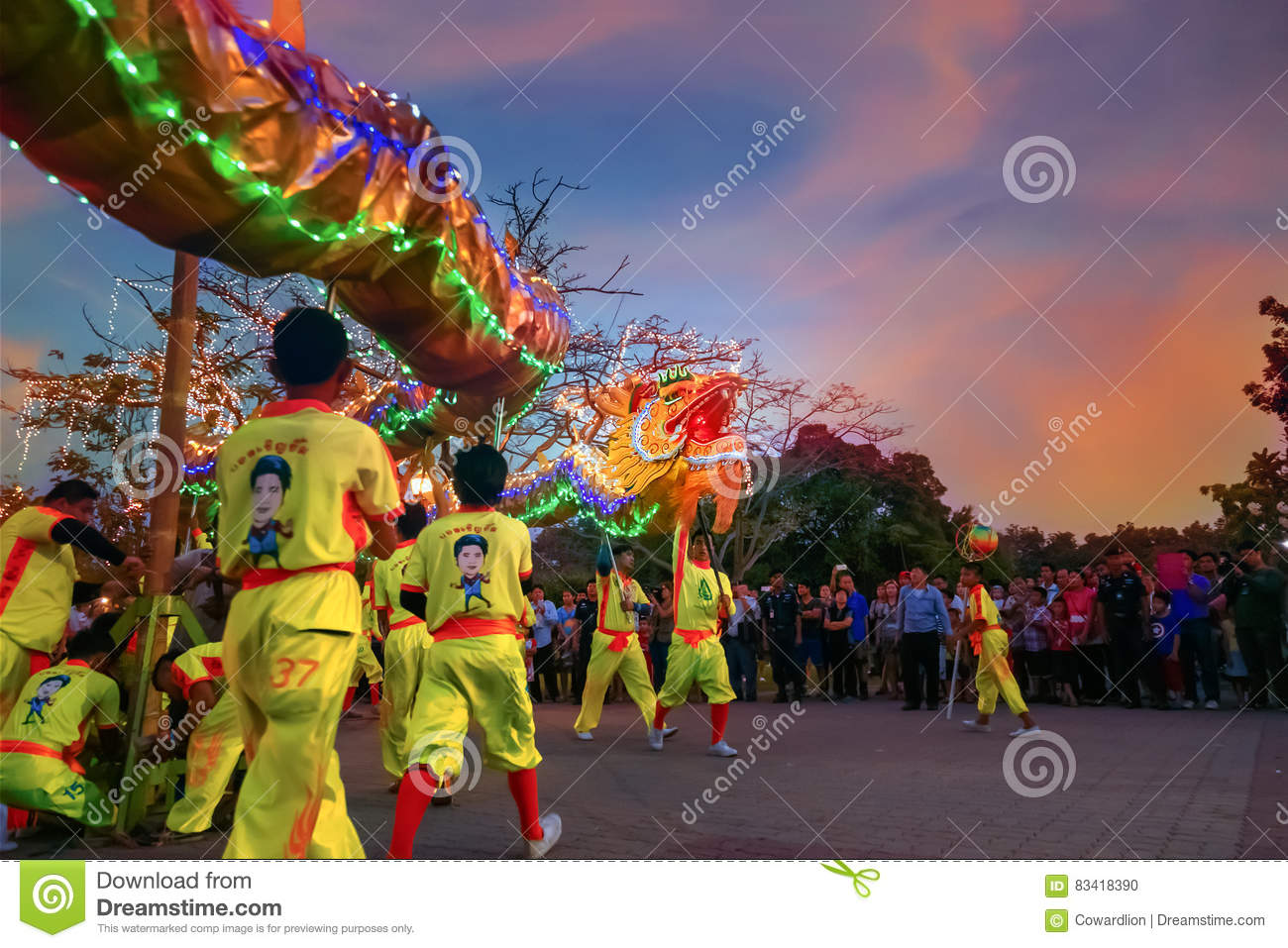 dragon dance in a chinese new year s celebration editorial image