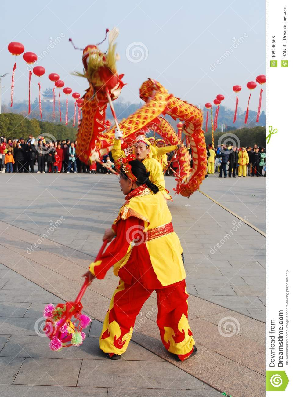 dragon dance in chinese spring festival editorial stock photo