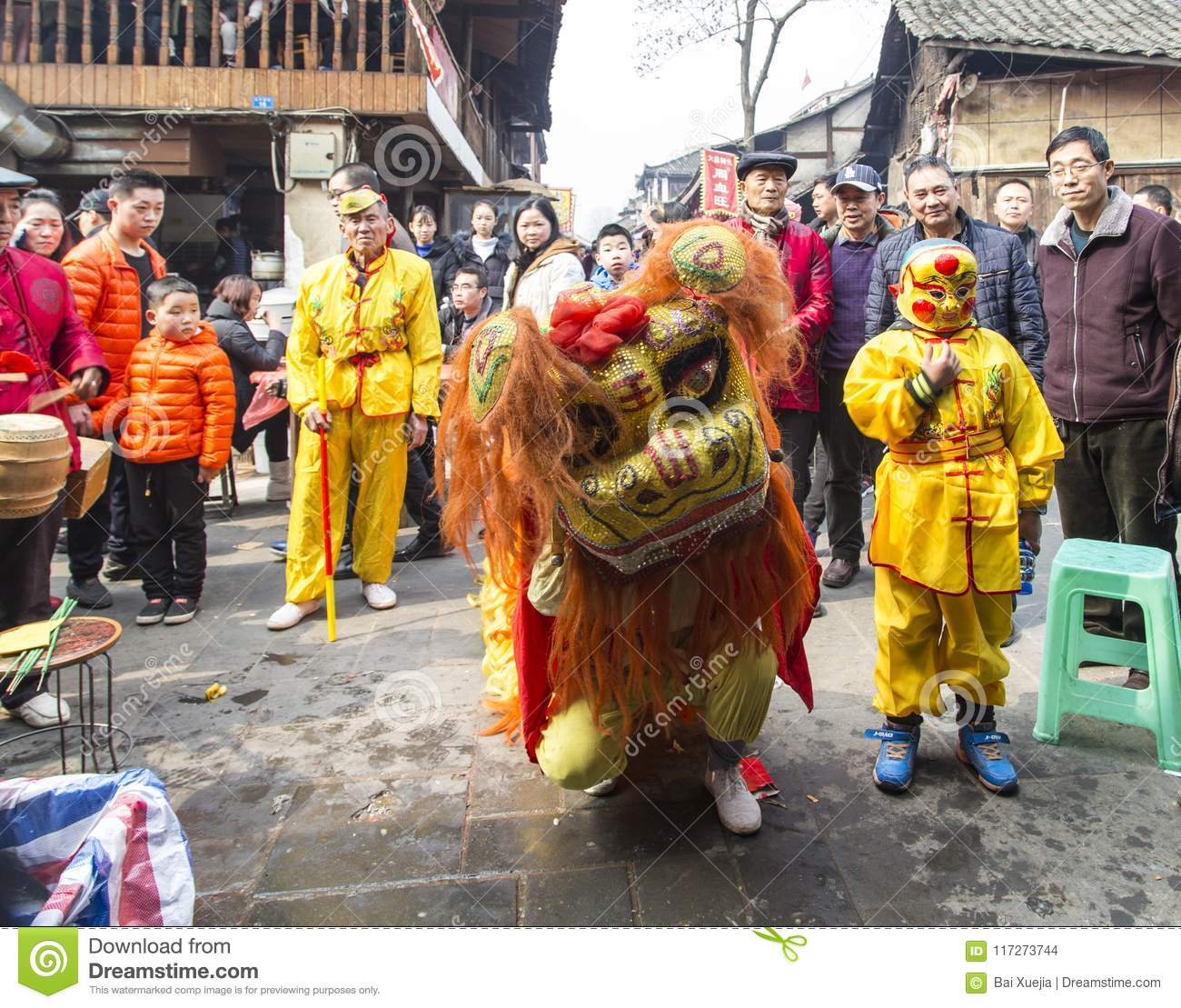 dragon dance festival in ancient town chengdu china editorial stock