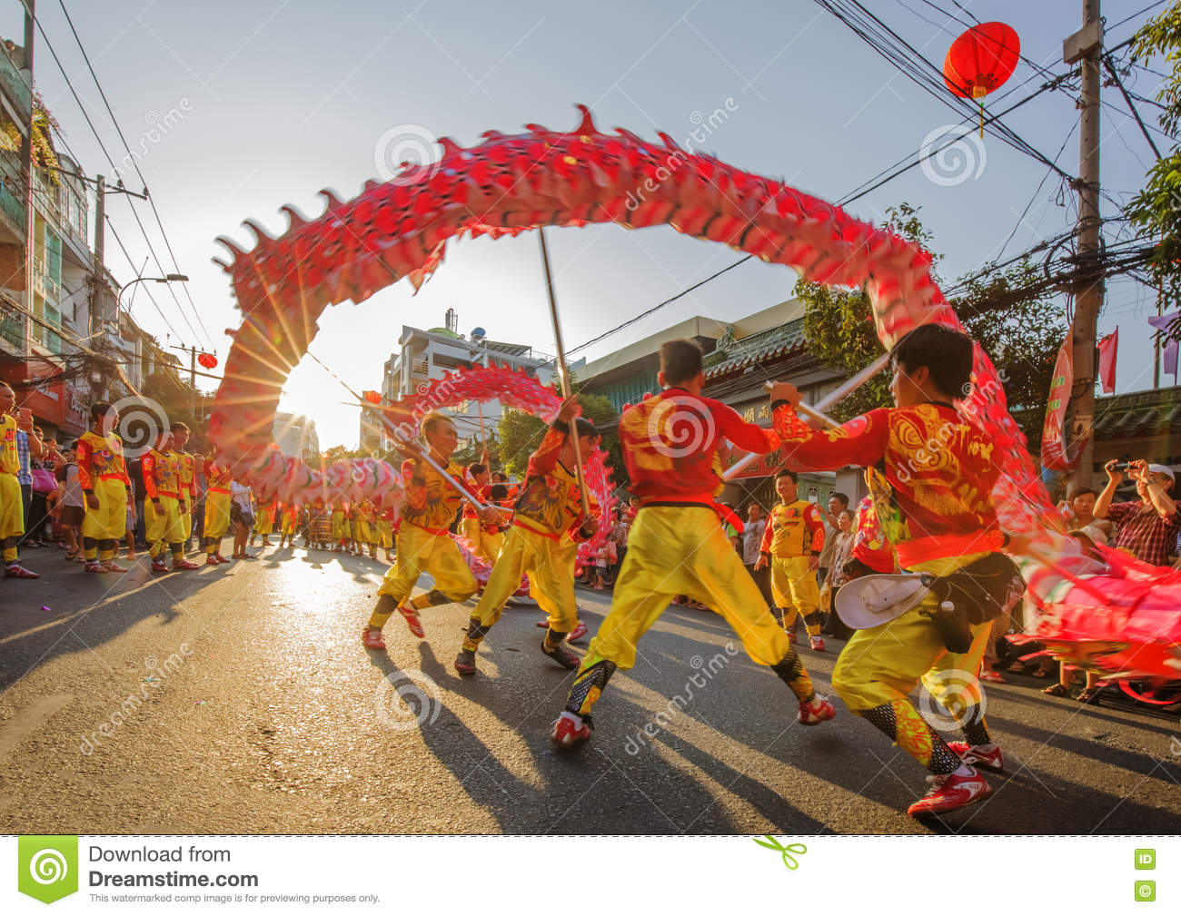 dragon dance at tet lunar new year festival vietnam editorial photo