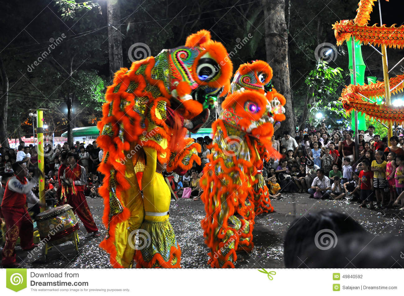 dragon dance during the tet lunar new year in vietnam editorial