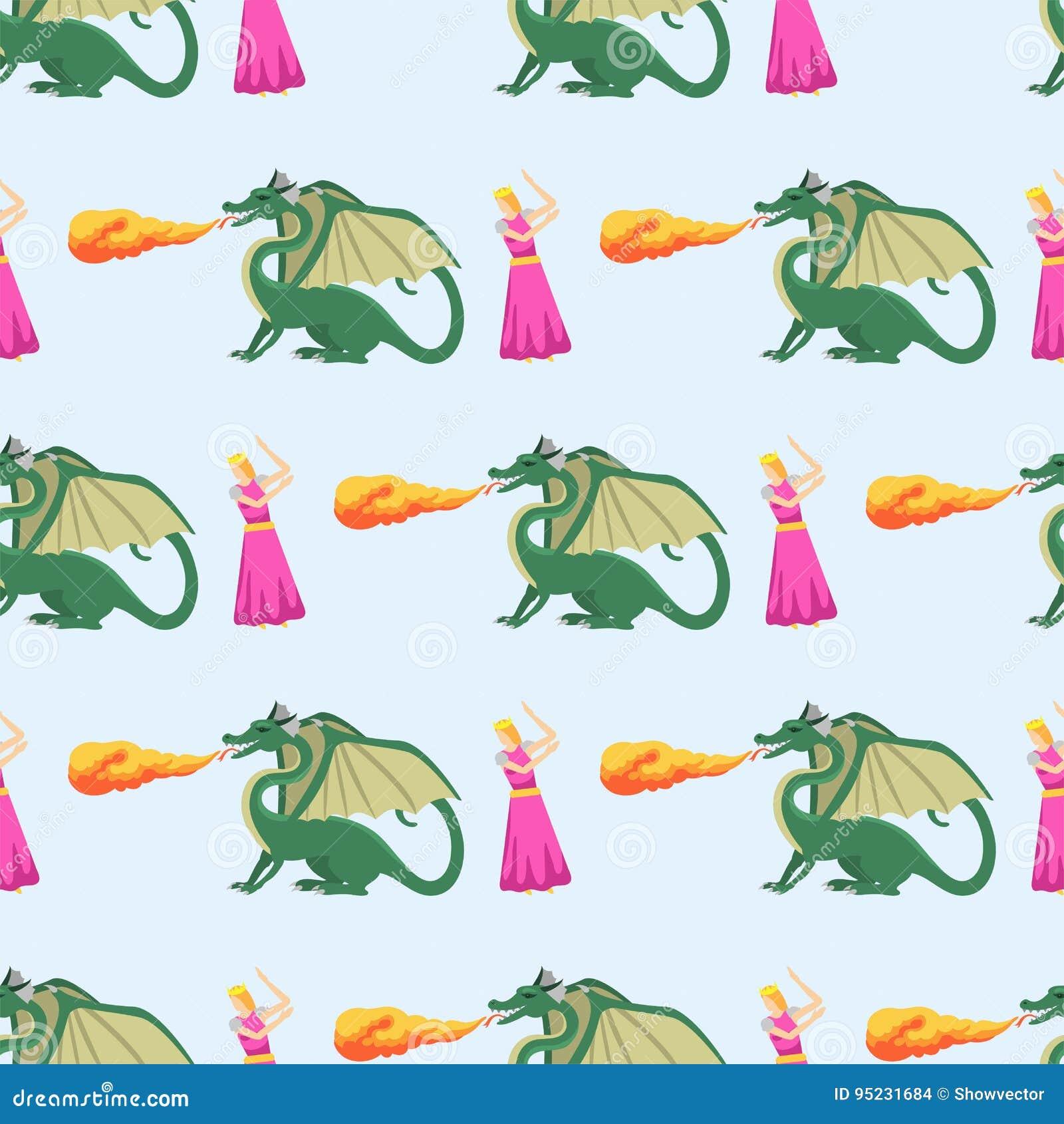 Dragon de chevalier d imagination pilotant l illustration sans couture de vecteur de fond de monstre de mythologie de modèle