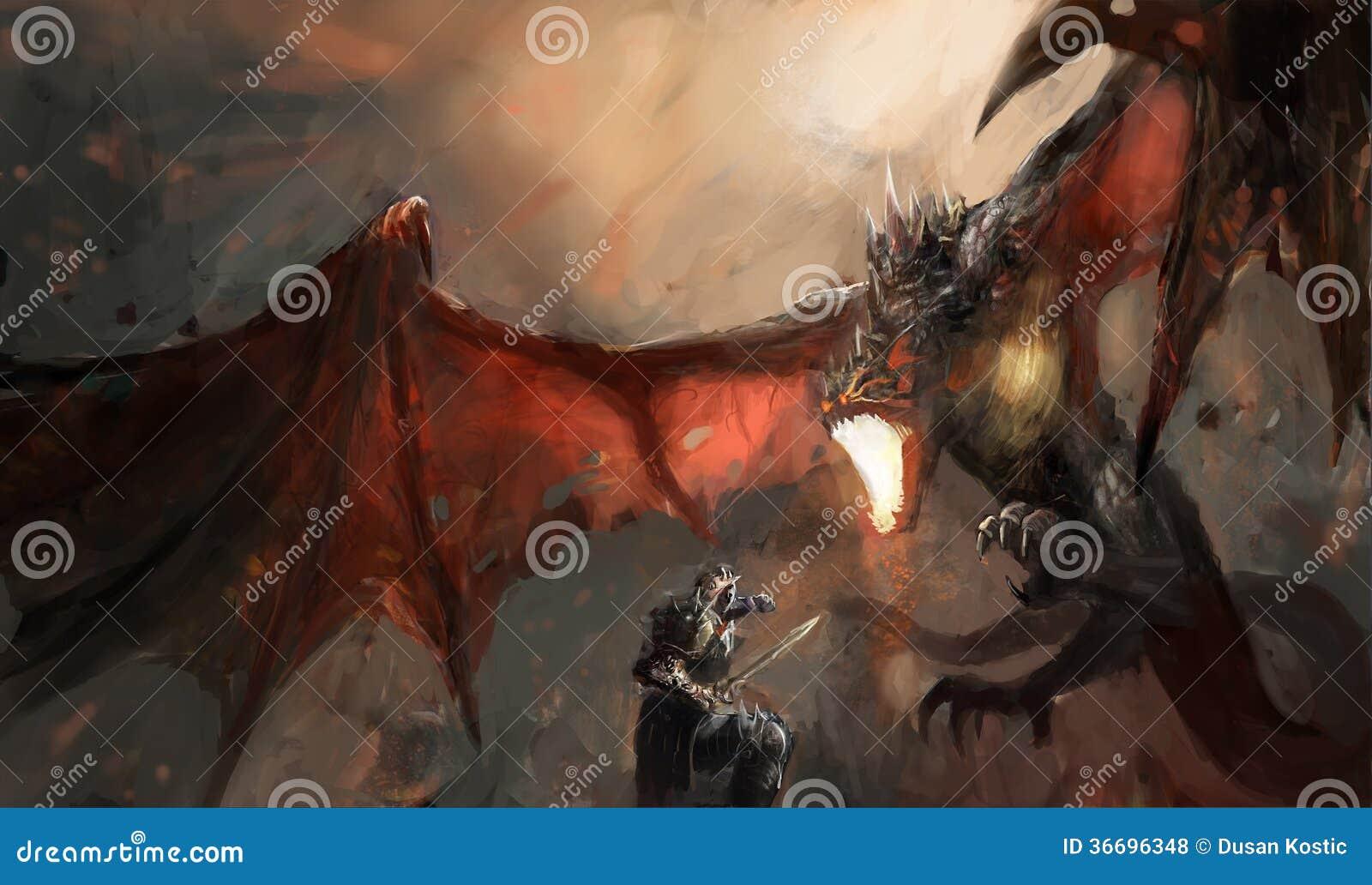 Dragon de combat de chevalier
