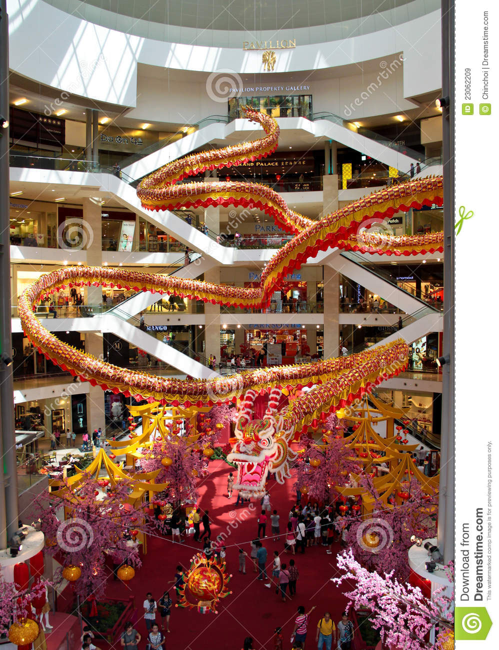 Dragon deco at shopping complex editorial stock image Boutiques deco