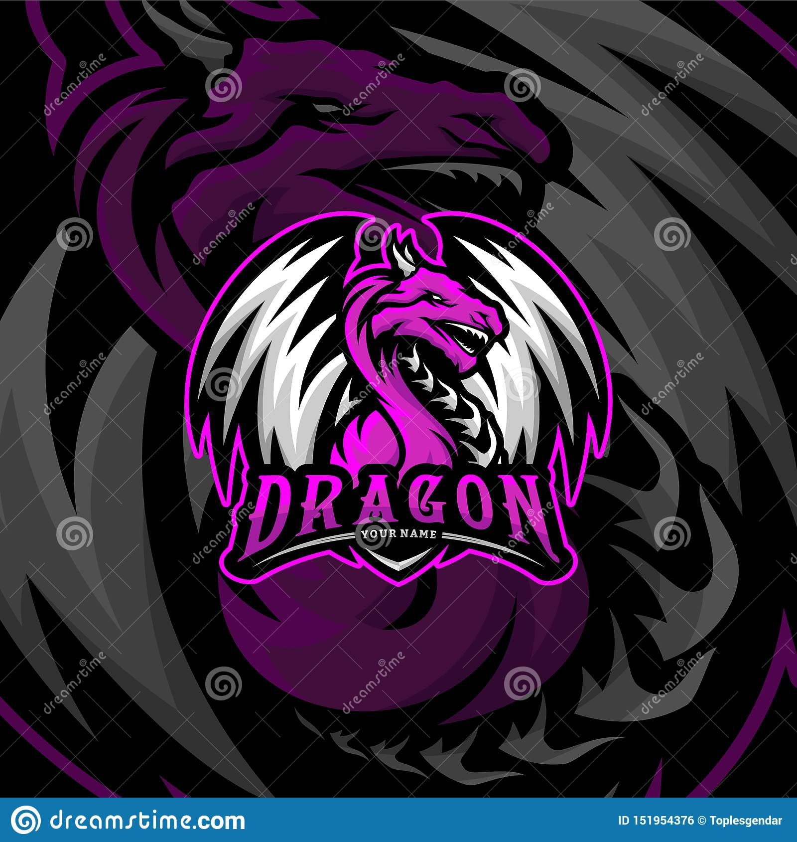 Dragon Esports Logo Design Vector Dragon Mascot Gaming Logo Concepts Stock Vector Illustration Of Design Aggressive 151954376