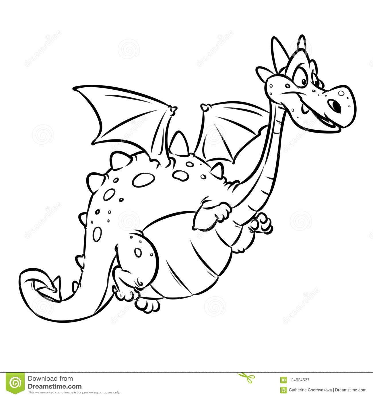 Dragon Fairy Animal Cheerful Cartoon Coloring Page Stock ...