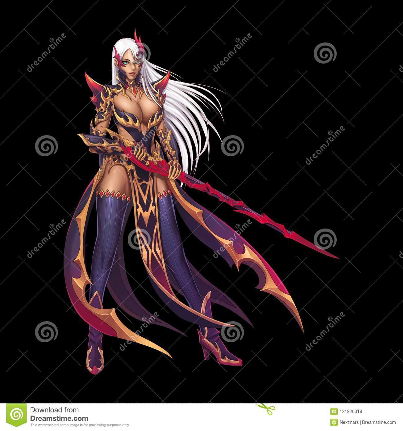 Dragon Fighter Knight Girl With Anime And Cartoon Style Isolated On Black Background