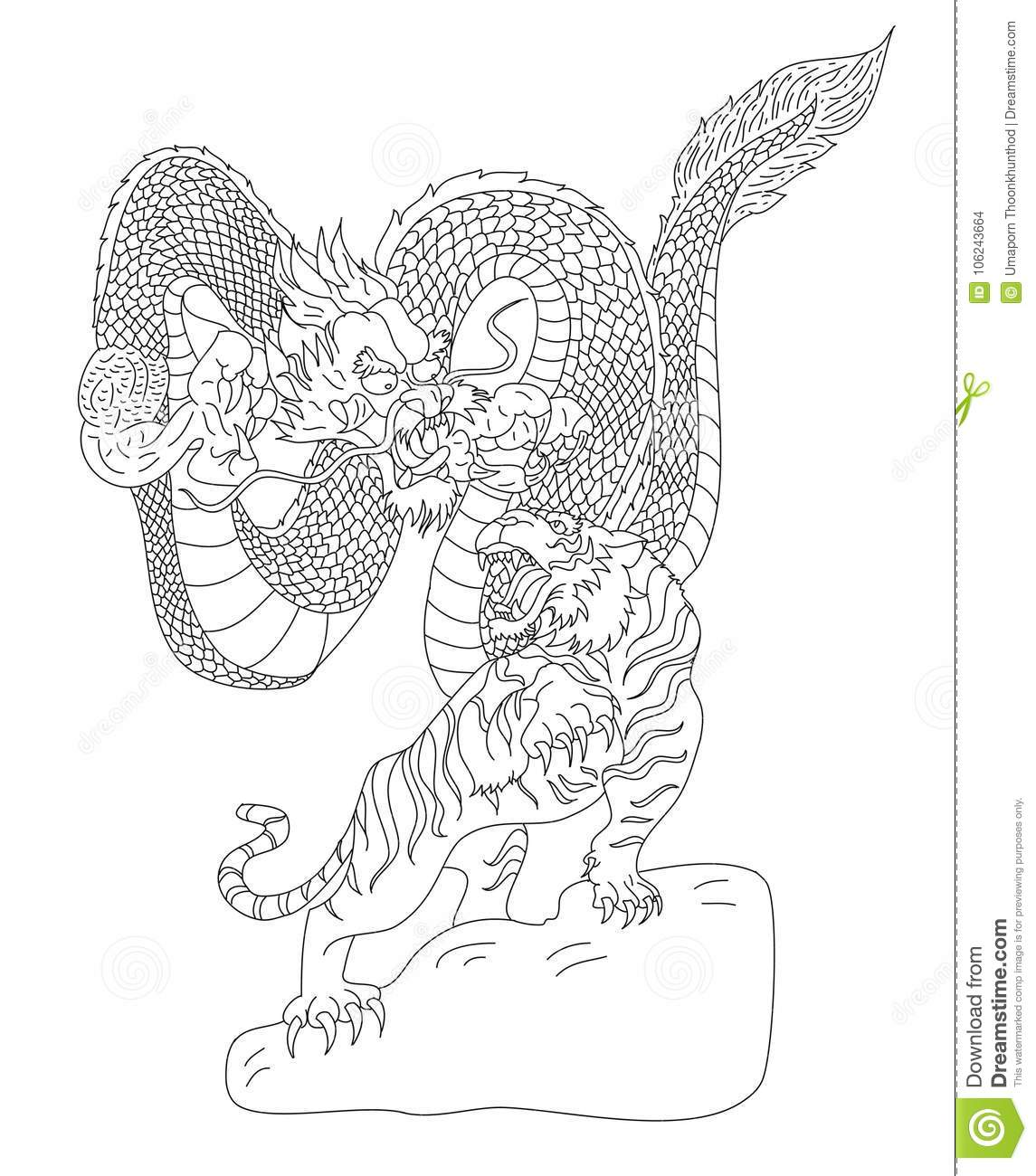 Dragon Fighting With Tiger Tattoo Stock Vector Illustration Of
