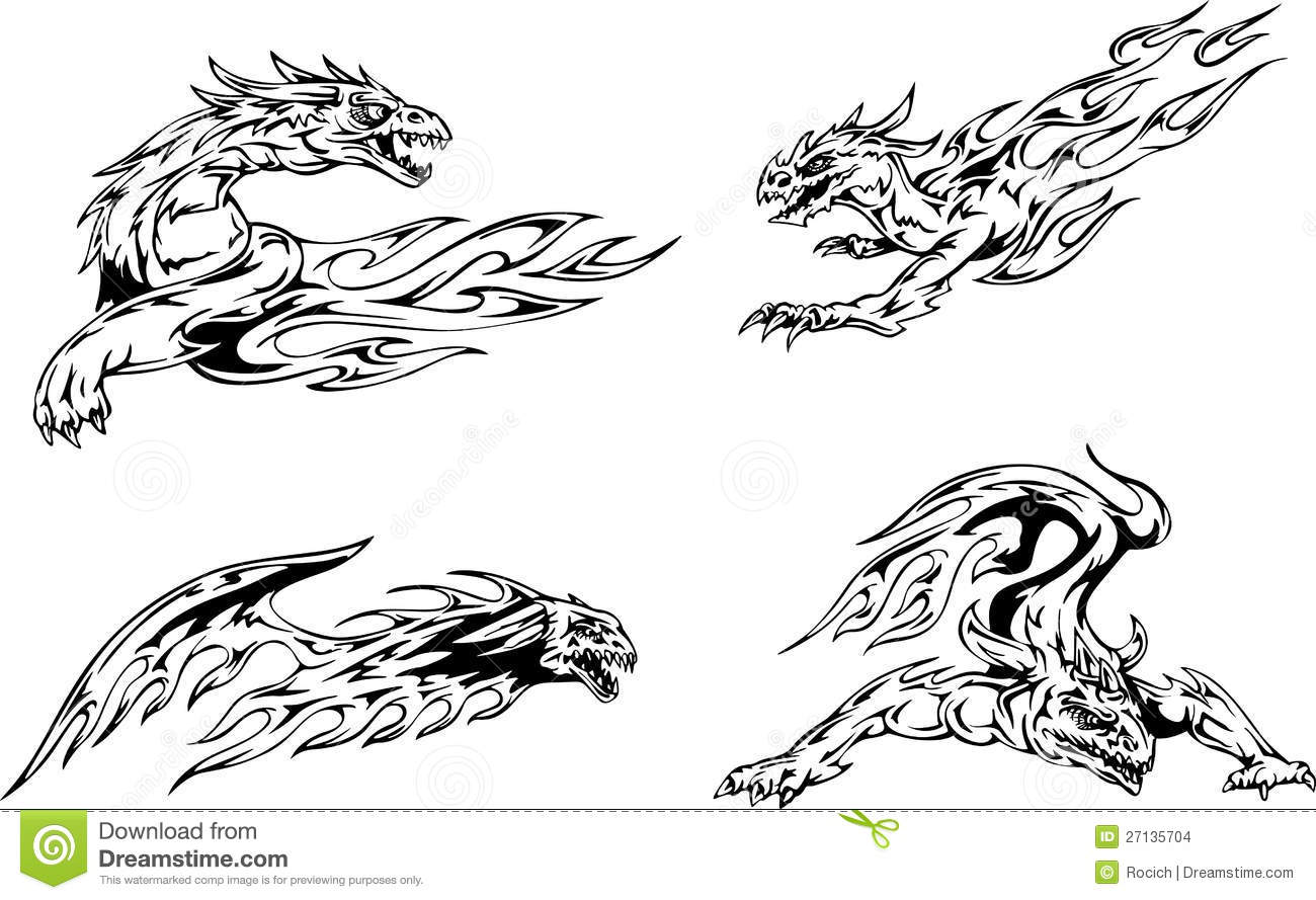 Dragon flame tattoos stock images image 27135704 for Dragon fire tattoos