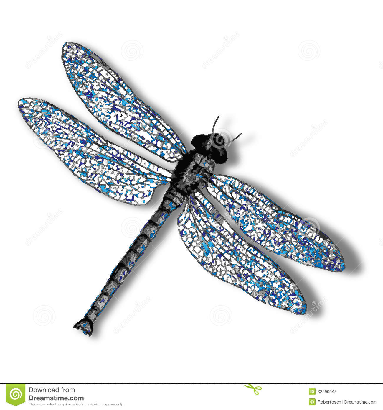 Dragonfly Against White Background Abstract Vector Art Illustration