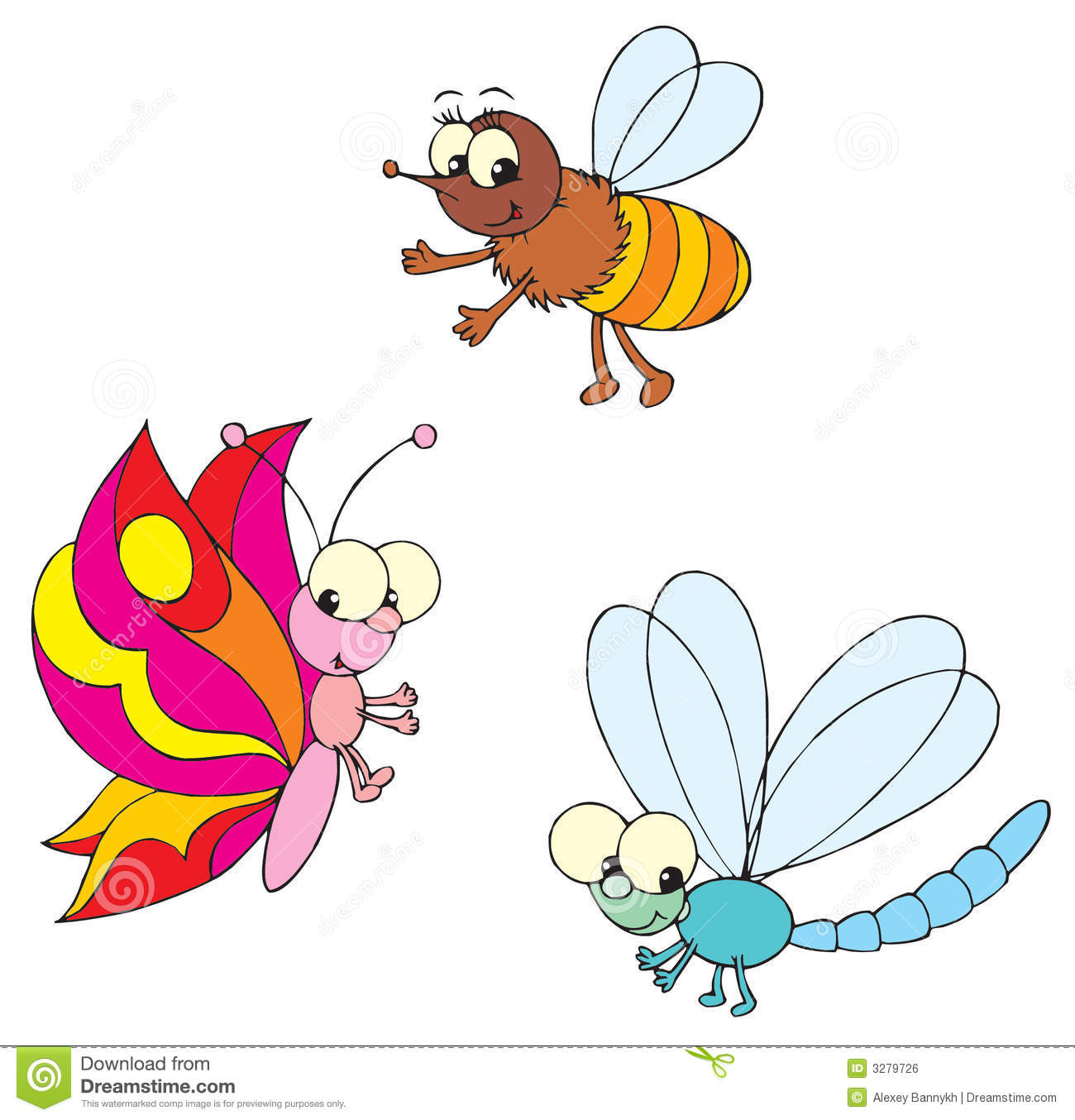 Dragon-fly, Butterfly And Bee Stock Vector - Image: 3279726