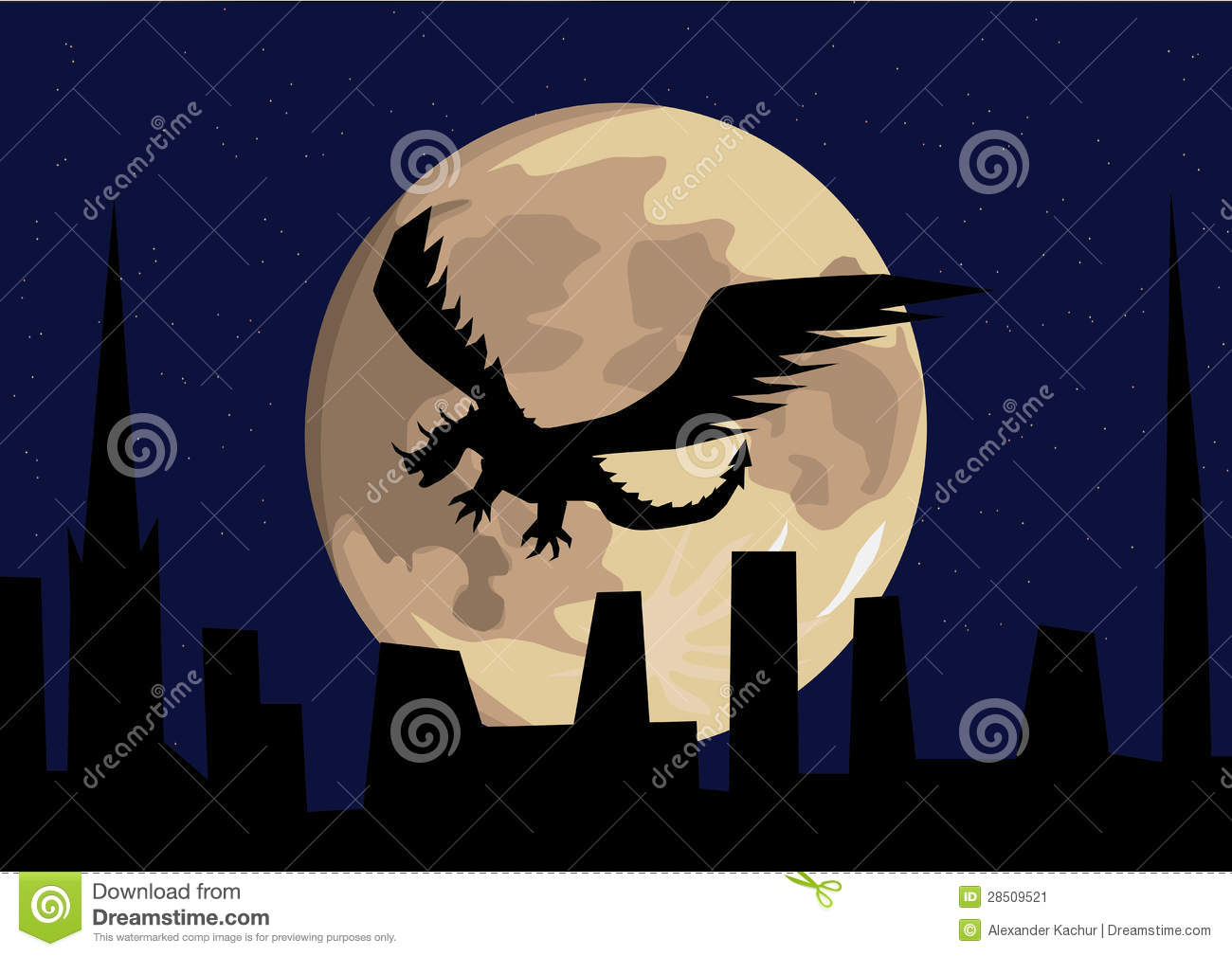 Full Moon Dragon: Dragon Flying In Front Of The Full Moon Stock Vector
