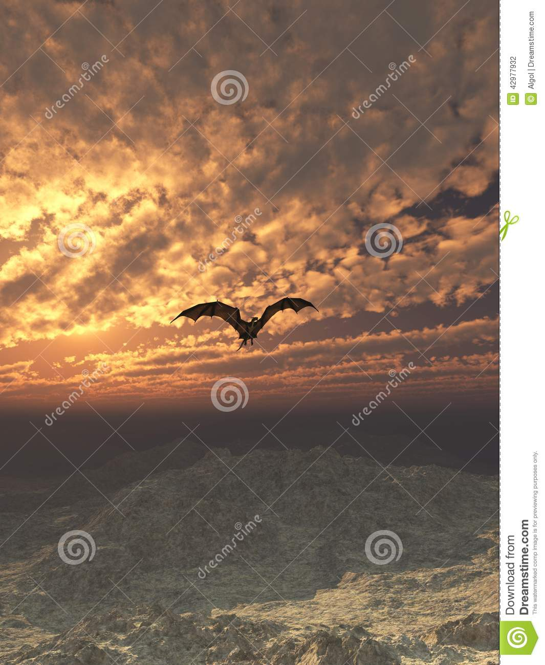 Dragon Flying no por do sol