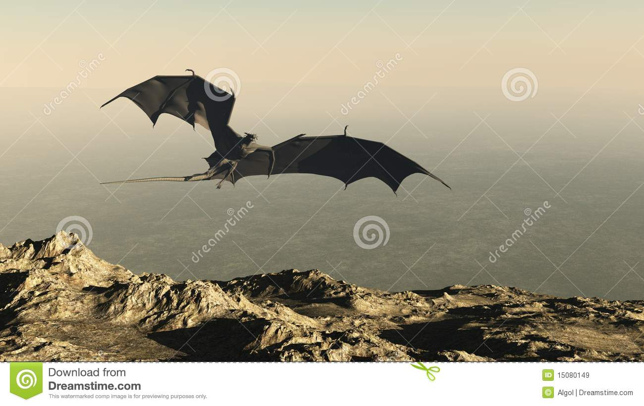 Dragon flying over a mountain cliff royalty free stock images image