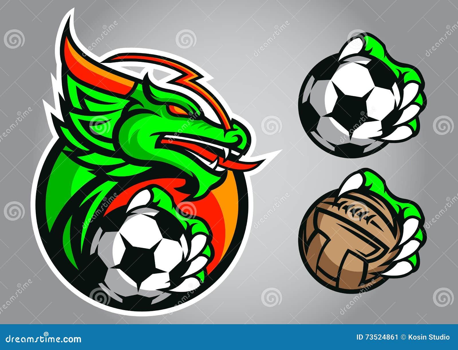 dragon football logo vector emblem stock vector image