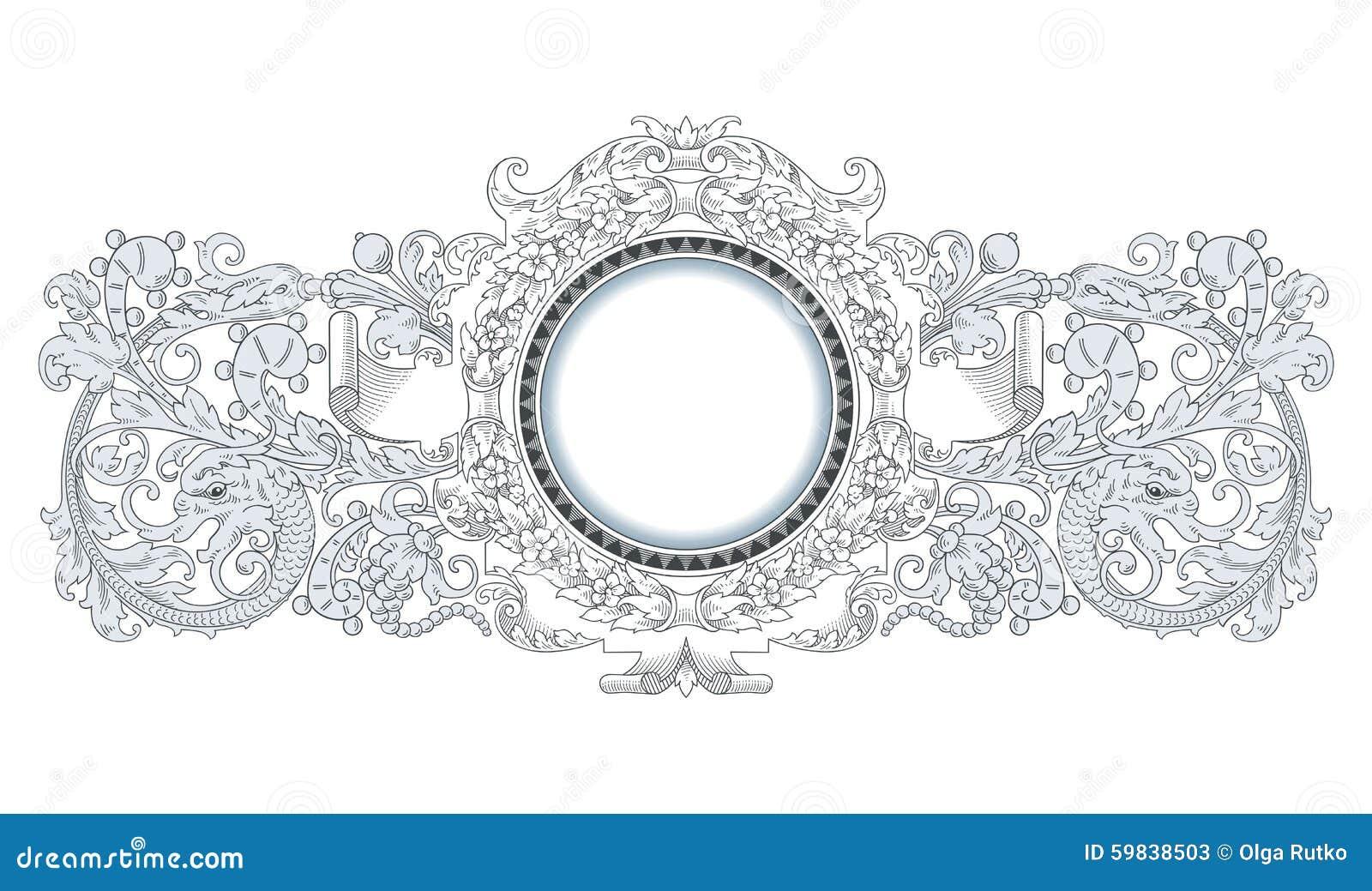 Dragon Frame Ornament stock vector. Illustration of border - 59838503