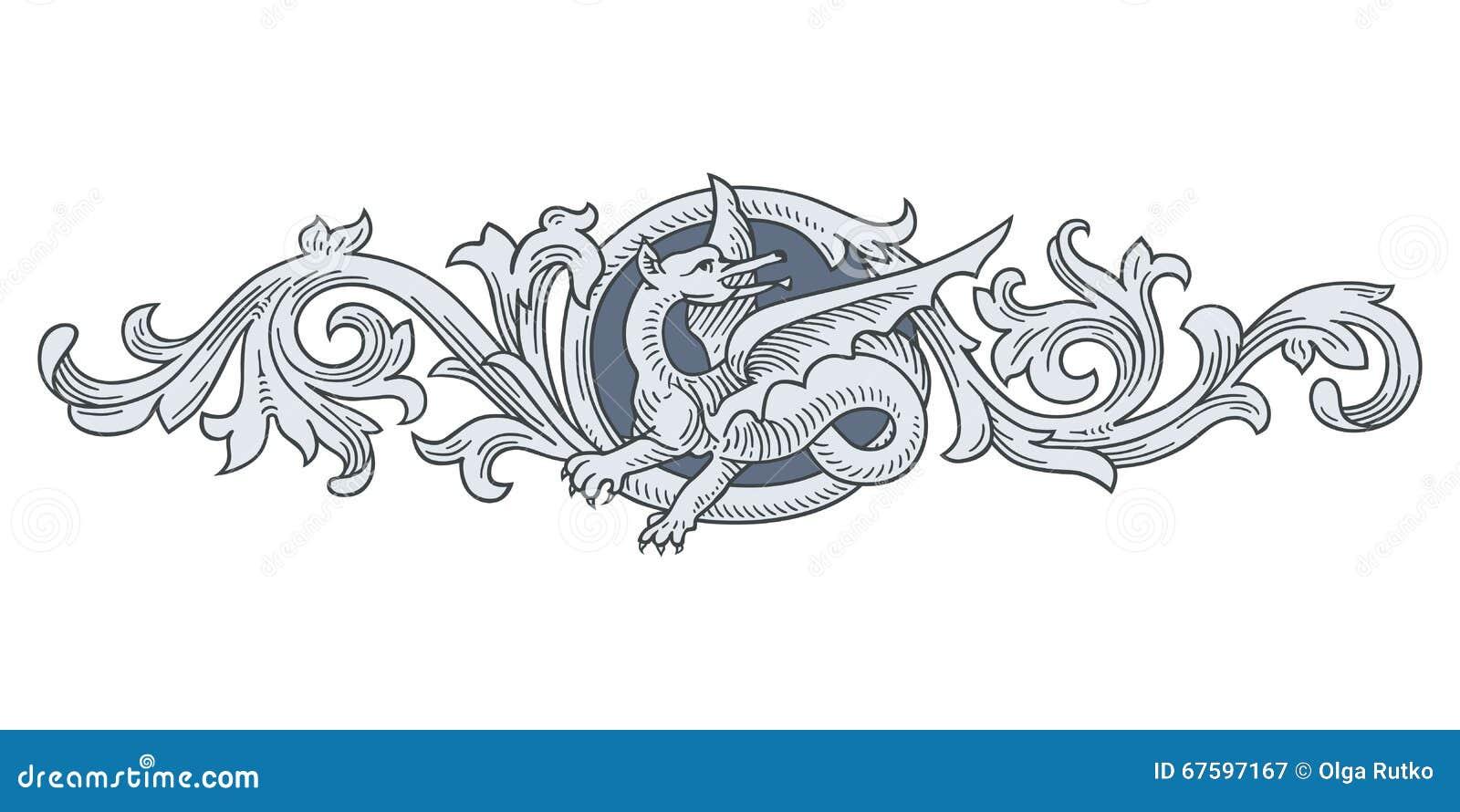 Dragon Frame Ornament stock vector. Illustration of branch - 67597167