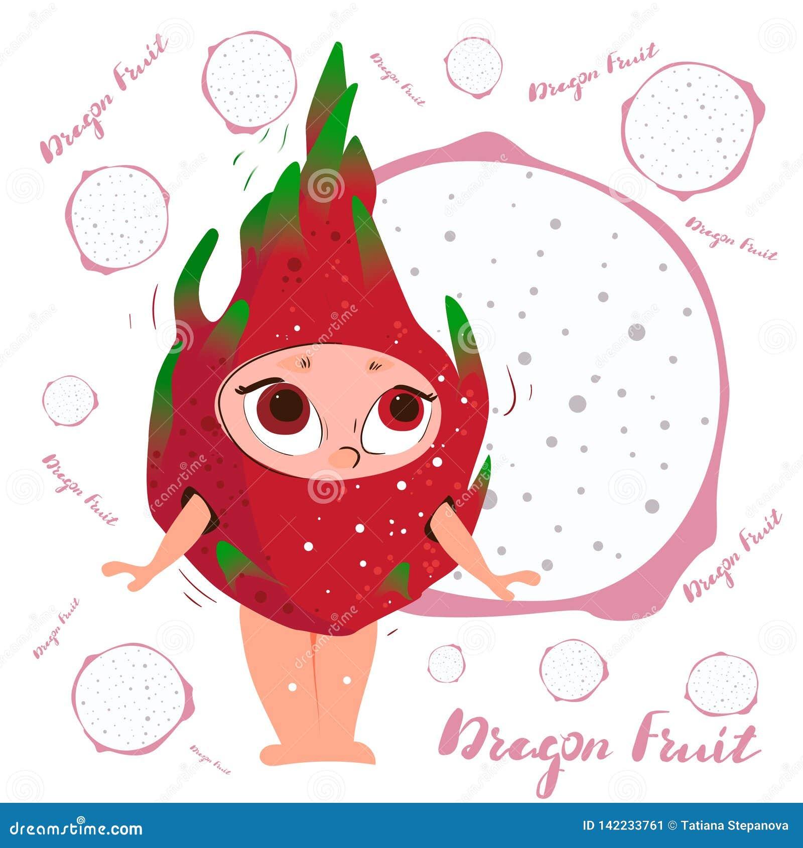Dragon Fruit Pitaya  Fresh Juicy Red Cartoon Character Stock
