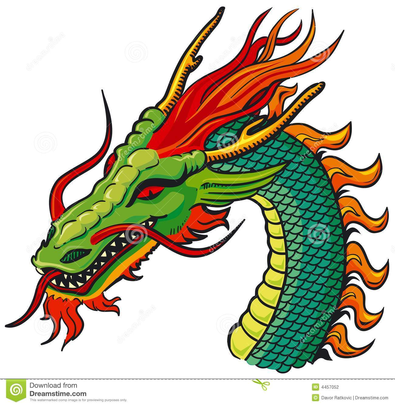 Dragon head color stock vector. Illustration of claws - 4457052