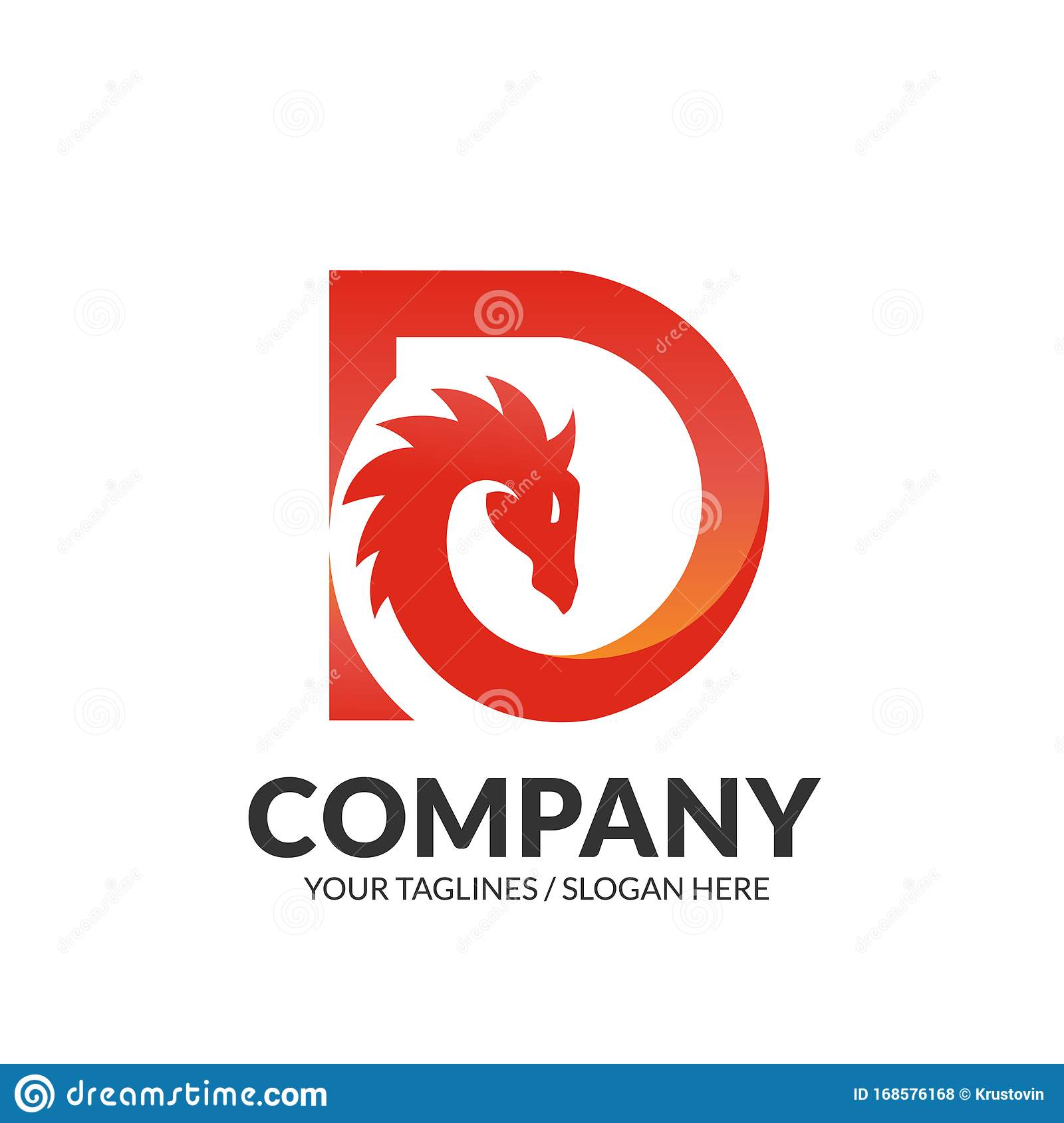 Fire Logo With Letter P: Dragon Head With Initial Letter D Logo Stock Vector