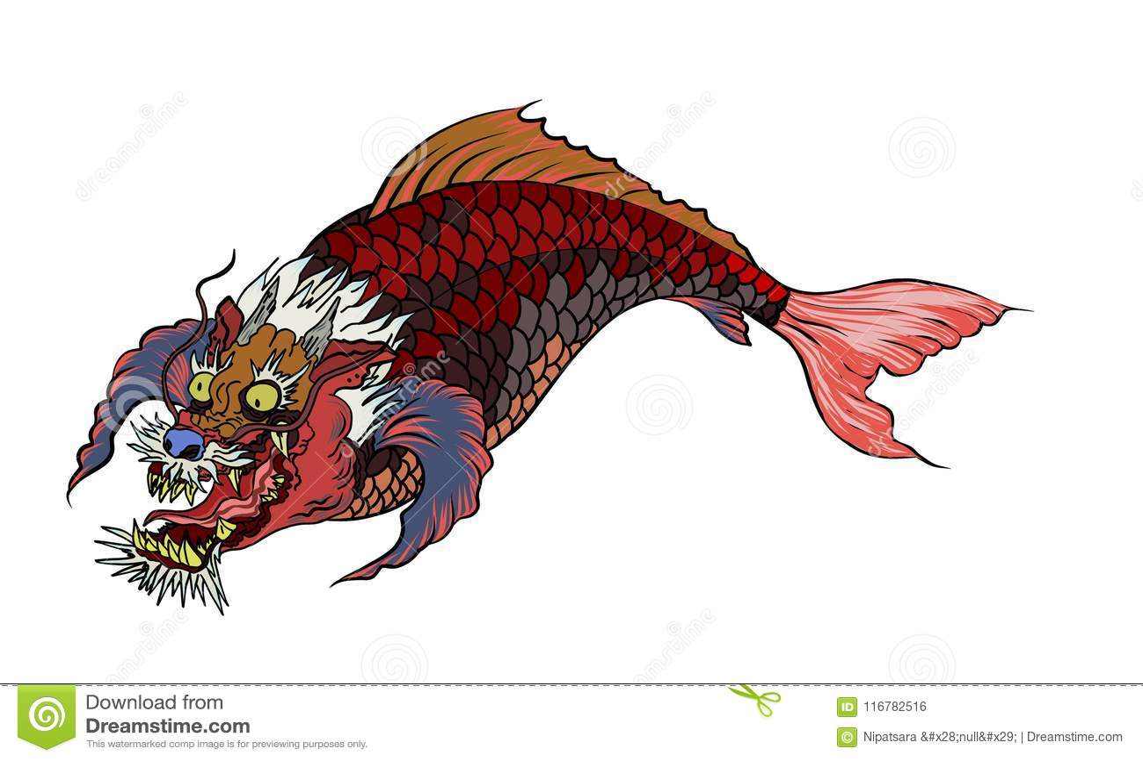 Dragon Head And Koi Carp Fish In Circle Design For Tattoo Stock ...