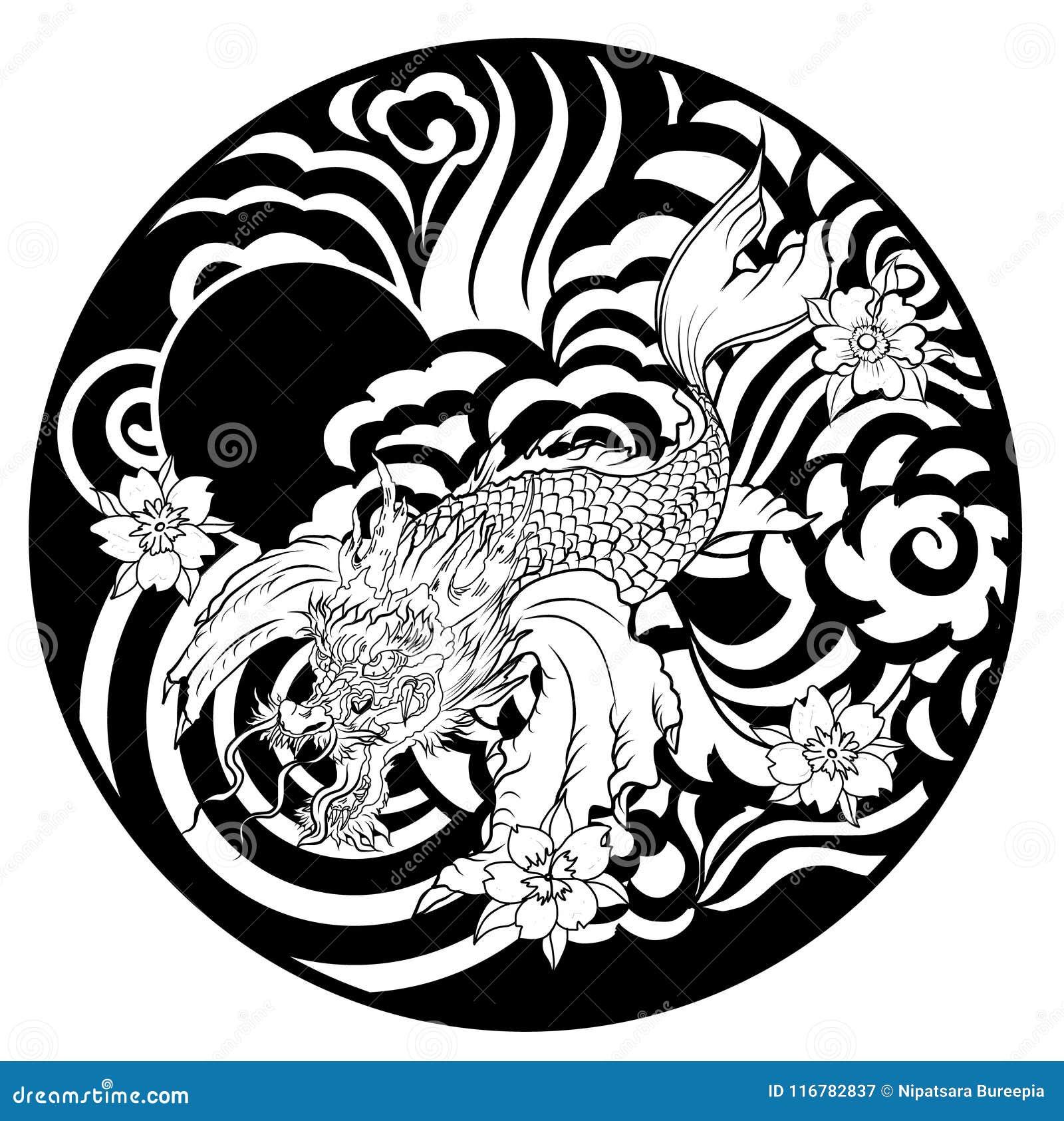 Dragon Head And Koi Carp Fish In Circle Design For Tattoo