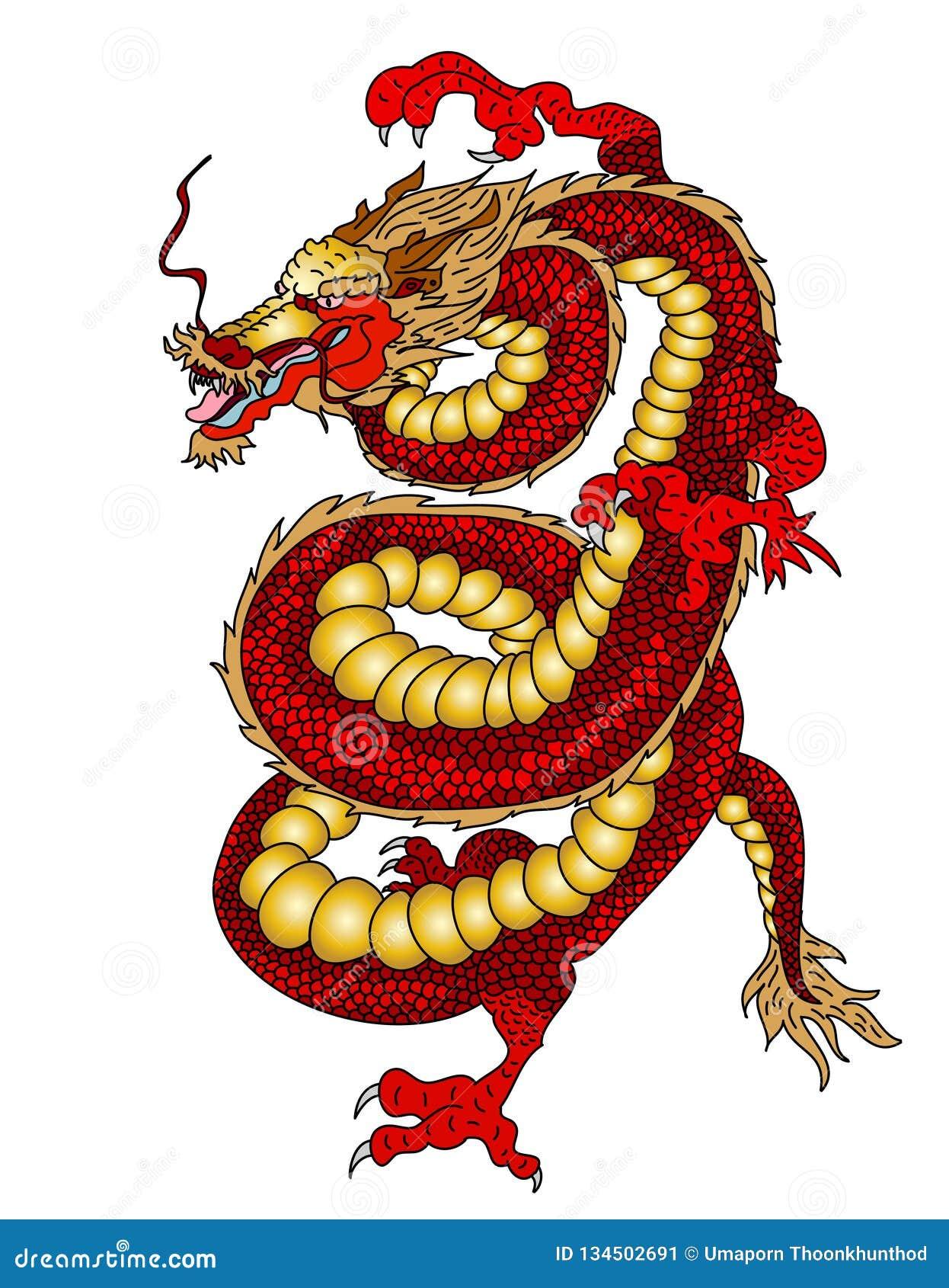 Dragon japonais pour imprimer sur le papier et pour la conception de tatouage illustration de - Dragon japonais dessin ...
