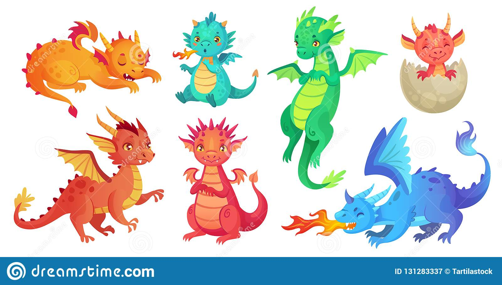 Dragon Kids Os dragões do bebê da fantasia, o réptil engraçado do conto de fadas e as legendas medievais ateiam fogo aos desenhos