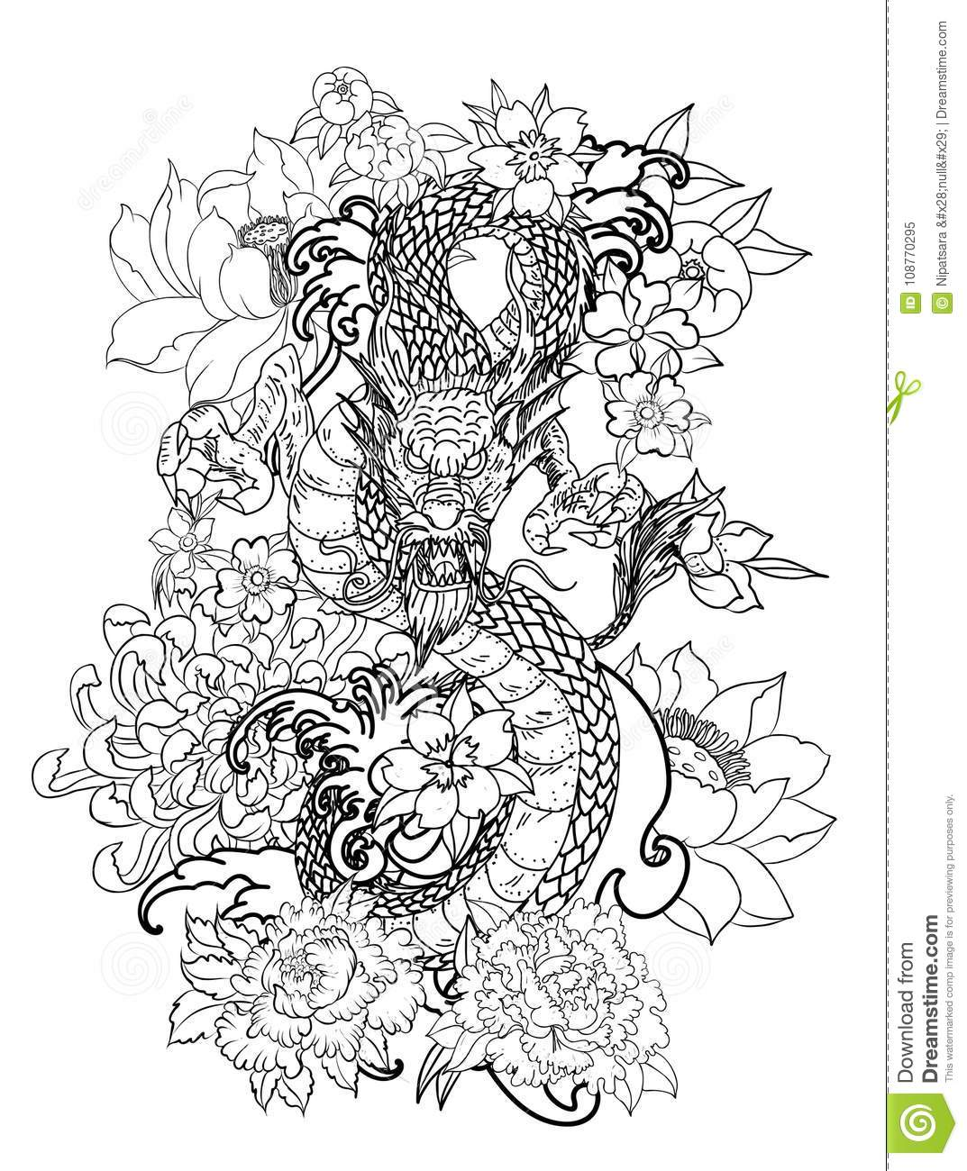 The Dragon And Koi Carp Fish With Water Splash And Peony Flower