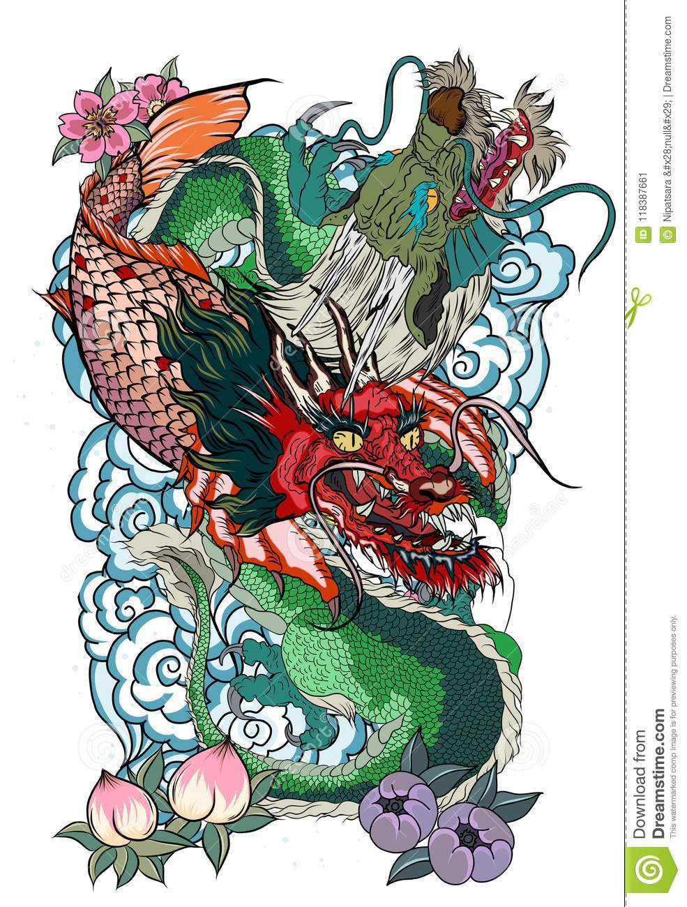 Dragon With Koi Dragon And Lotus Flower Tattoo Peach With