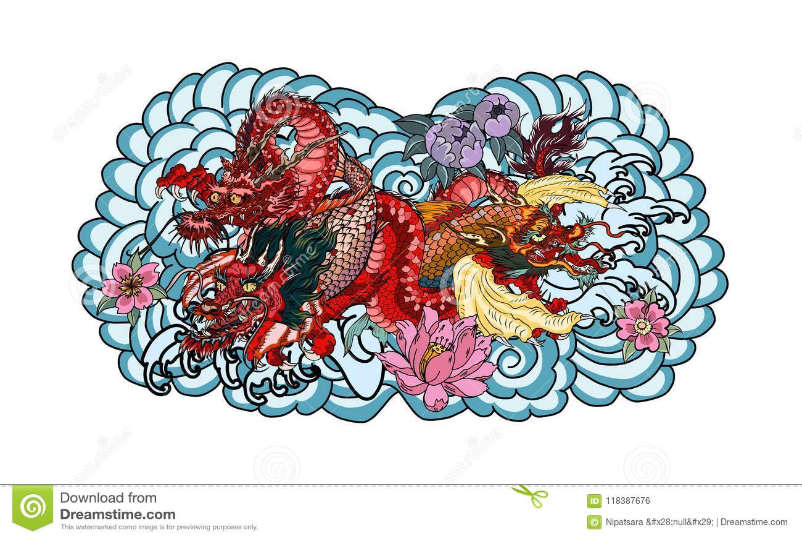 Dragon With Koi Dragon And Lotus Flower Tattooach With Sakura And