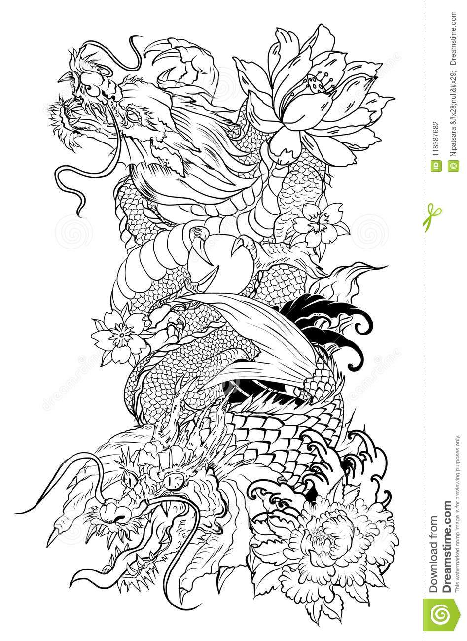 Dragon With Koi Dragon And Lotus Flower Tattoo Peach With Sakura And Plum Flower On Cloud Background Stock Vector Illustration Of Drawing Line 118387682