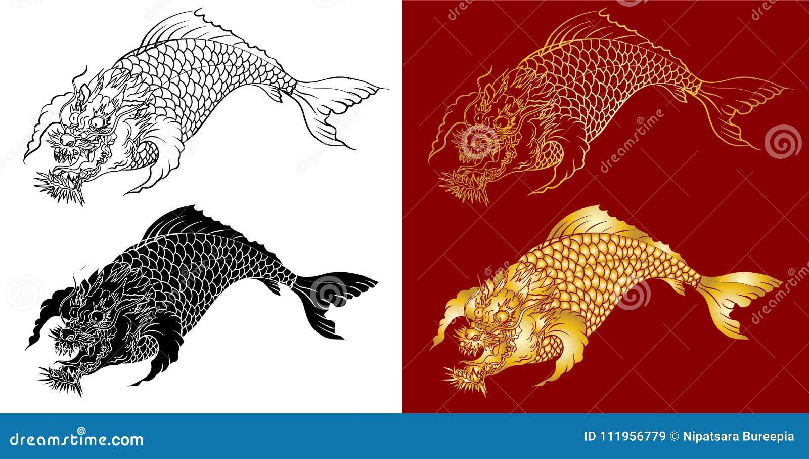 Dragon Koi Fish, Japanese Carp Line Drawing Coloring Book Vector ...
