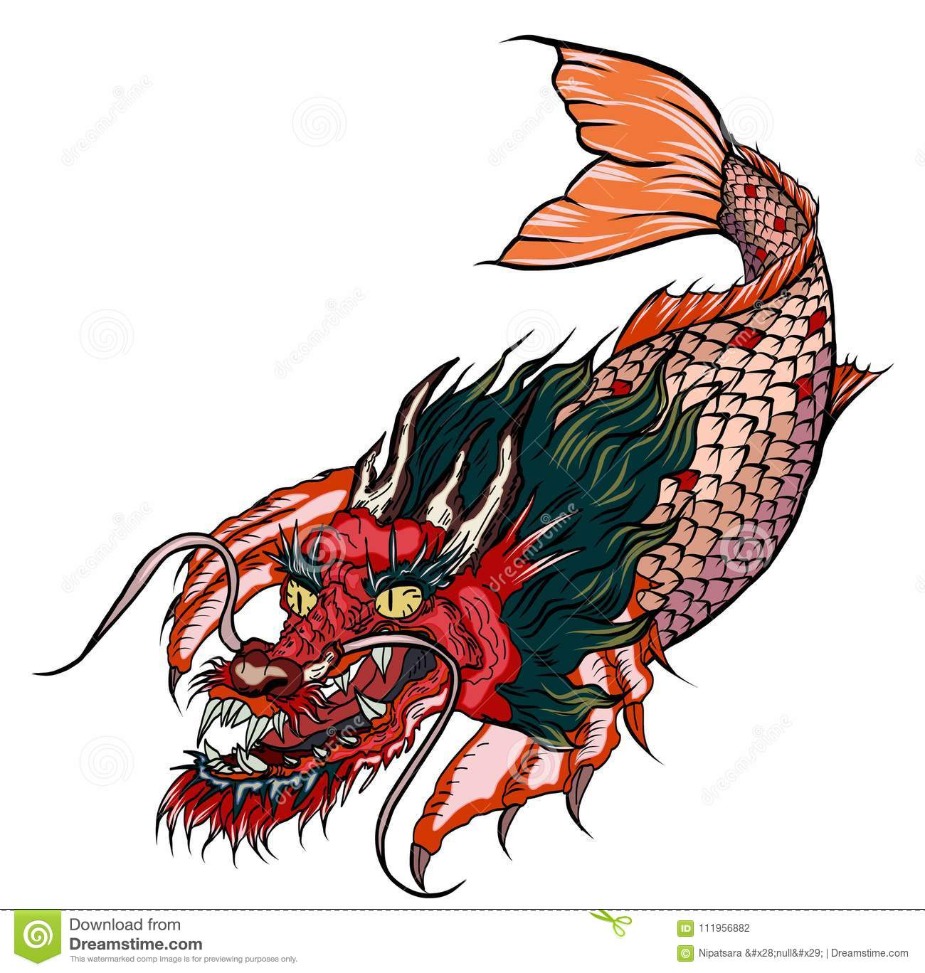 Dragon Koi Fish, Japanese Carp Line Drawing Coloring Book Vector ...