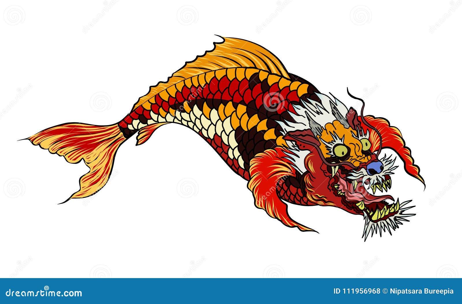 Dragon Koi Fish Japanese Carp Line Drawing Coloring Book Vector