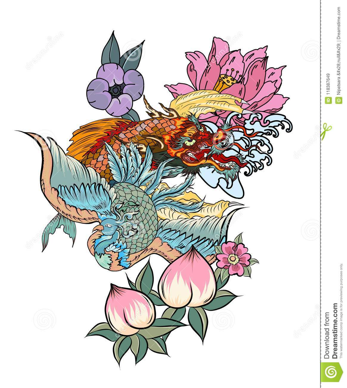 Dragon With Koi Dragon And Lotus Flower Tattooach With Sakura And
