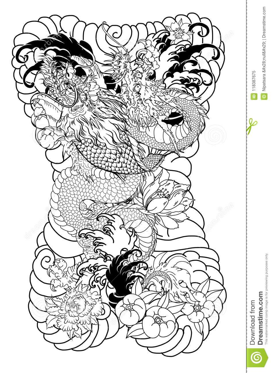 Dragon with koi dragon and lotus flower tattooach with sakura and dragon with koi dragon and lotus flower tattooach with sakura and plum flower on cloud background isolated drawn izmirmasajfo
