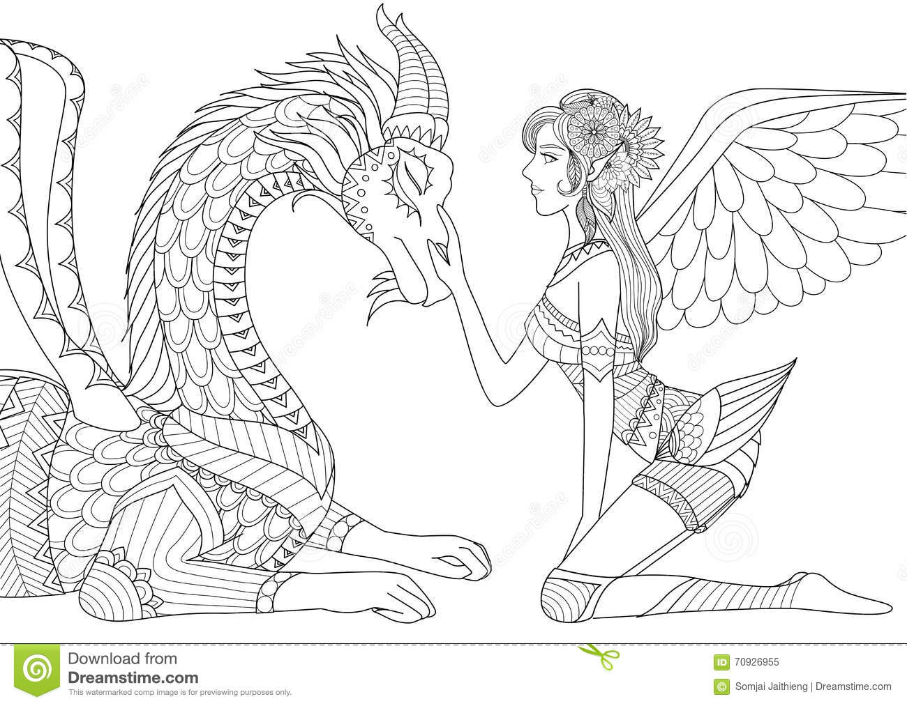 Dragon Is At Mercy Of Beautiful Angel, Line Art Design For Coloring ...