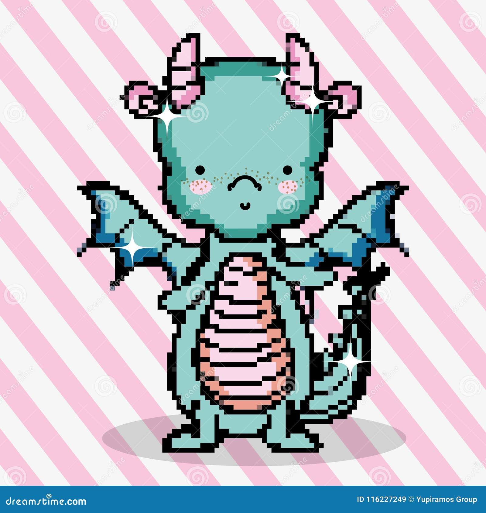 Dragon Mignon Dart De Pixel Illustration De Vecteur
