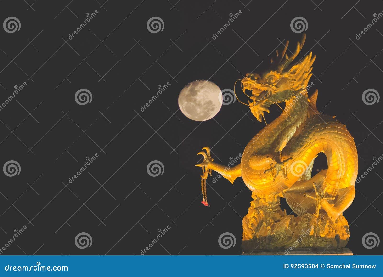 Dragon and moon