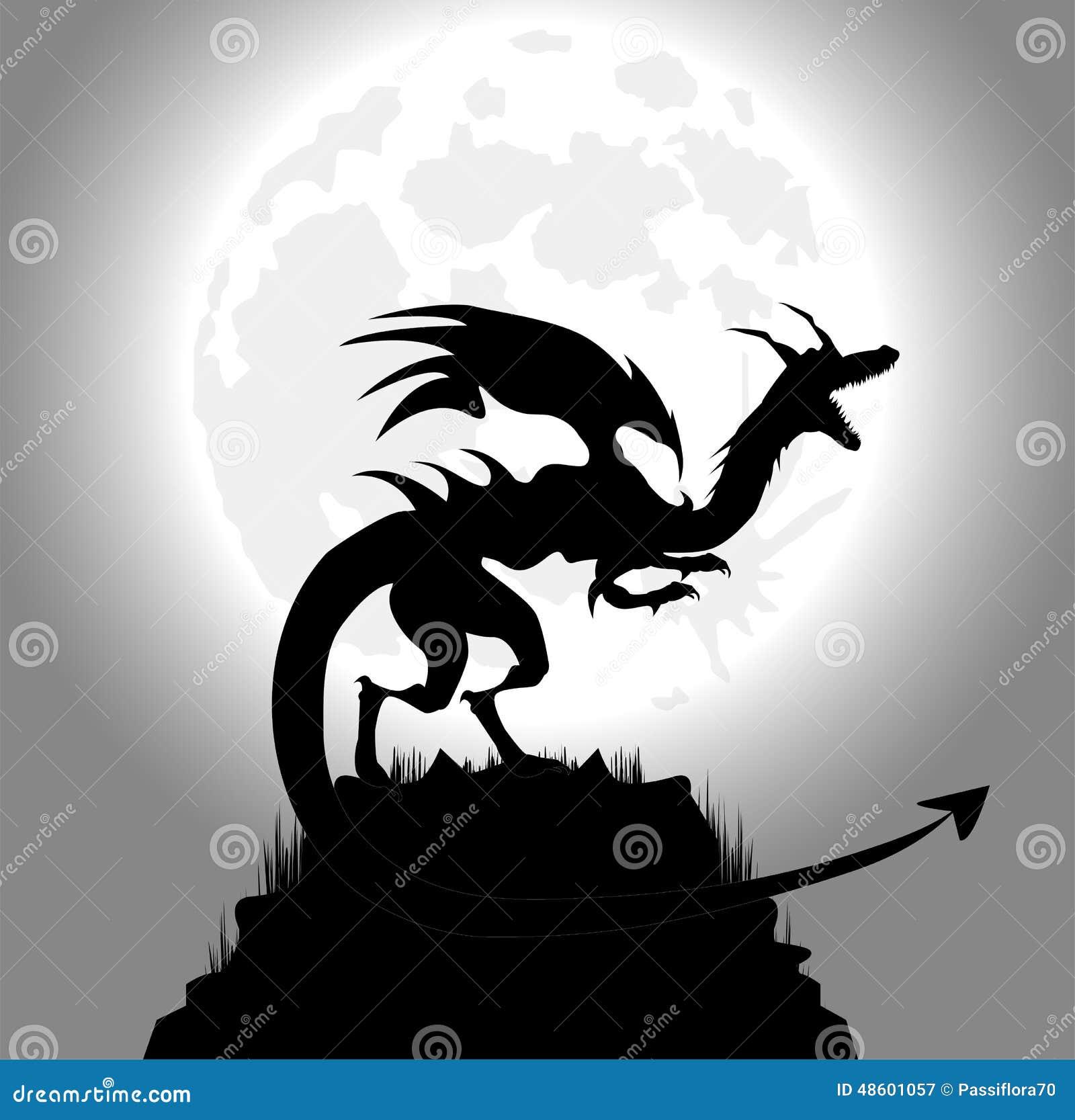 Full Moon Dragon: Dragon In The Night Stock Vector. Illustration Of Steering
