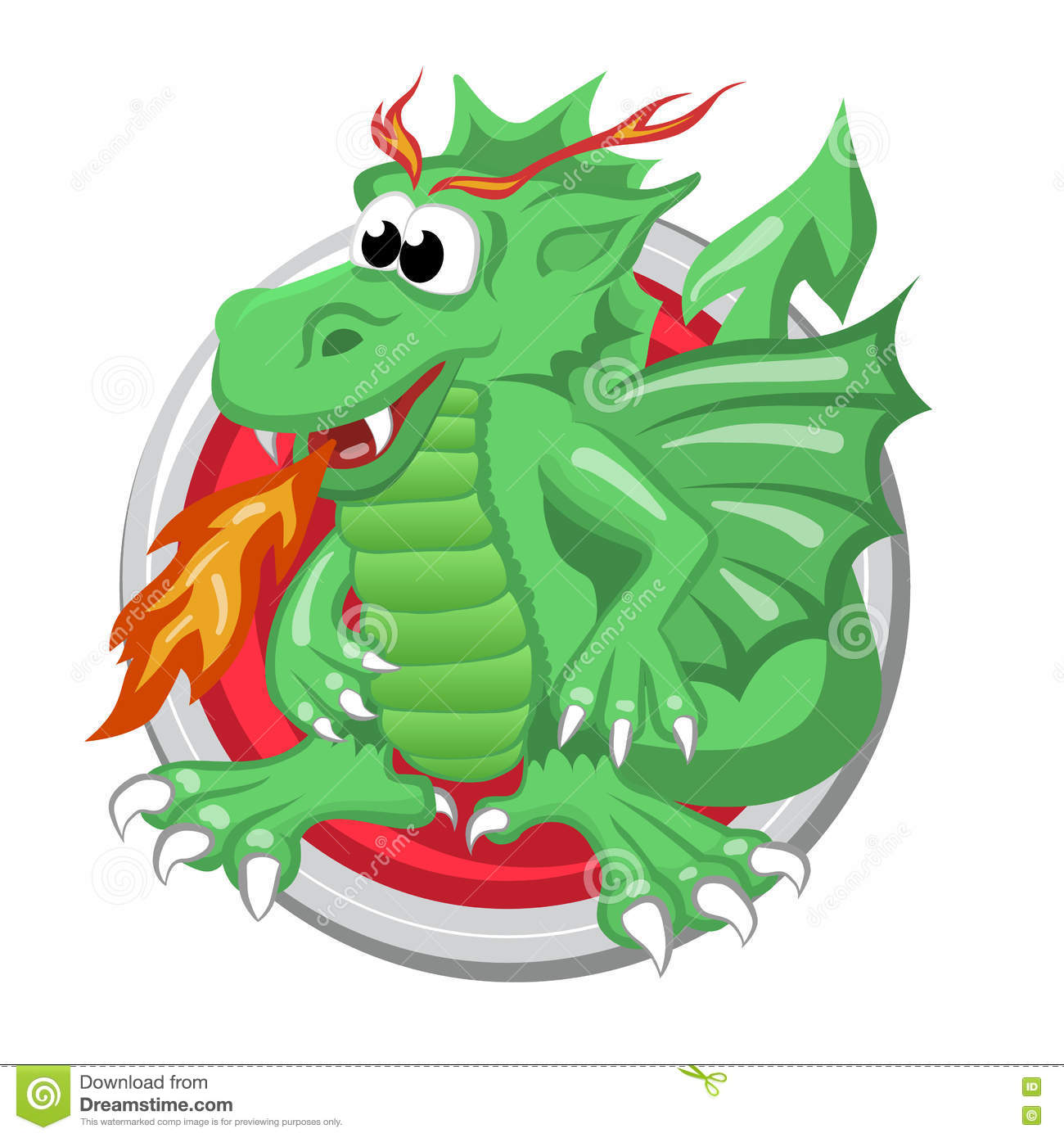 Dragon Orient Horoscope Sign In Circle Chinese Symbol Stock Vector