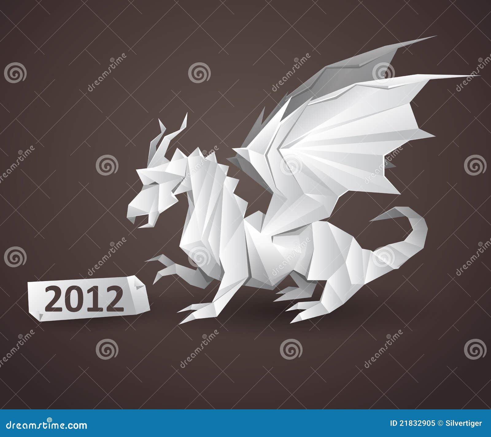Dragon Origami Stock Vector Illustration Of Greeting 21832905