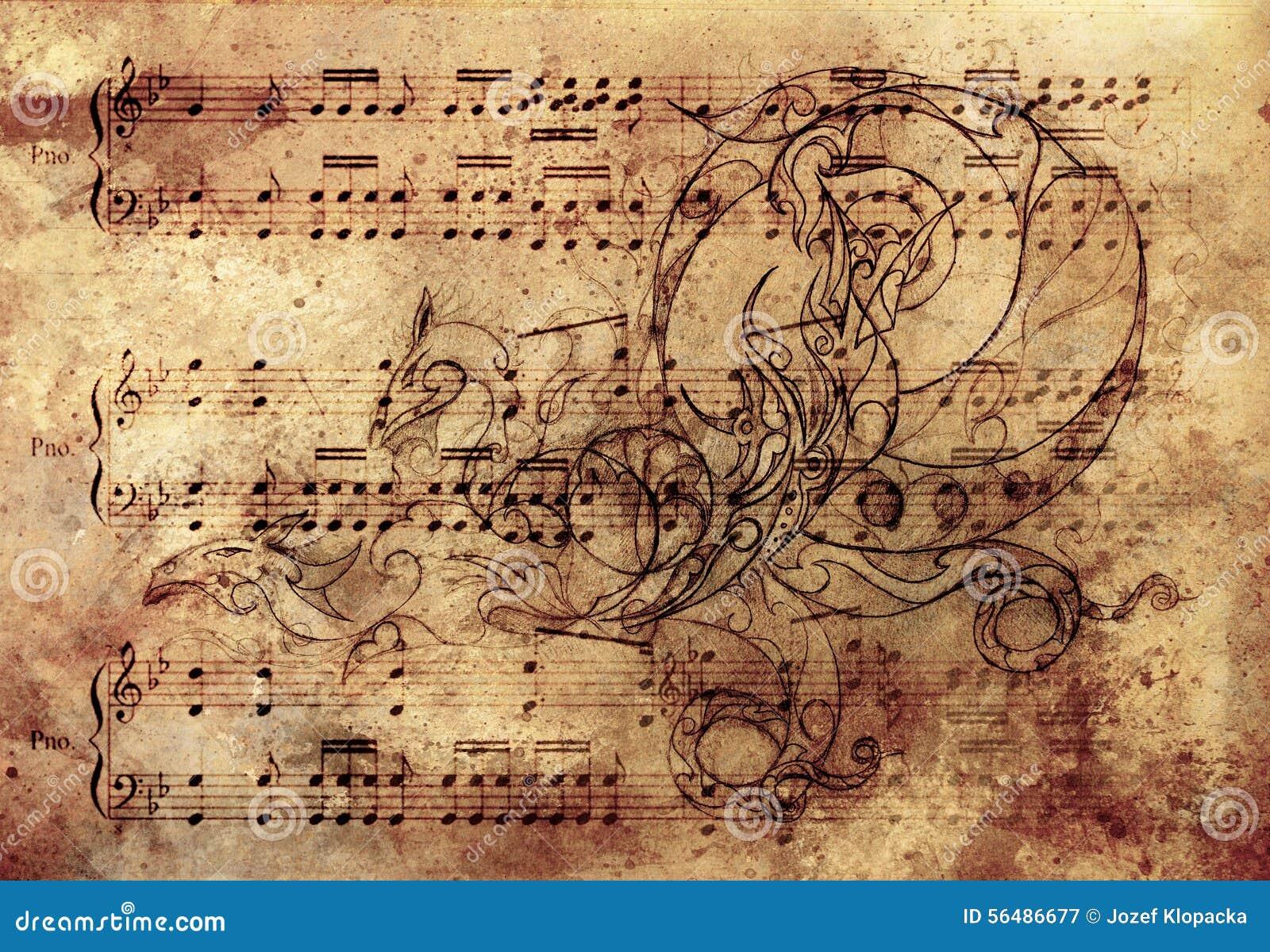 Dragon ornemental, tatouage dessinant au-dessus du papier de vintage Et note musicale