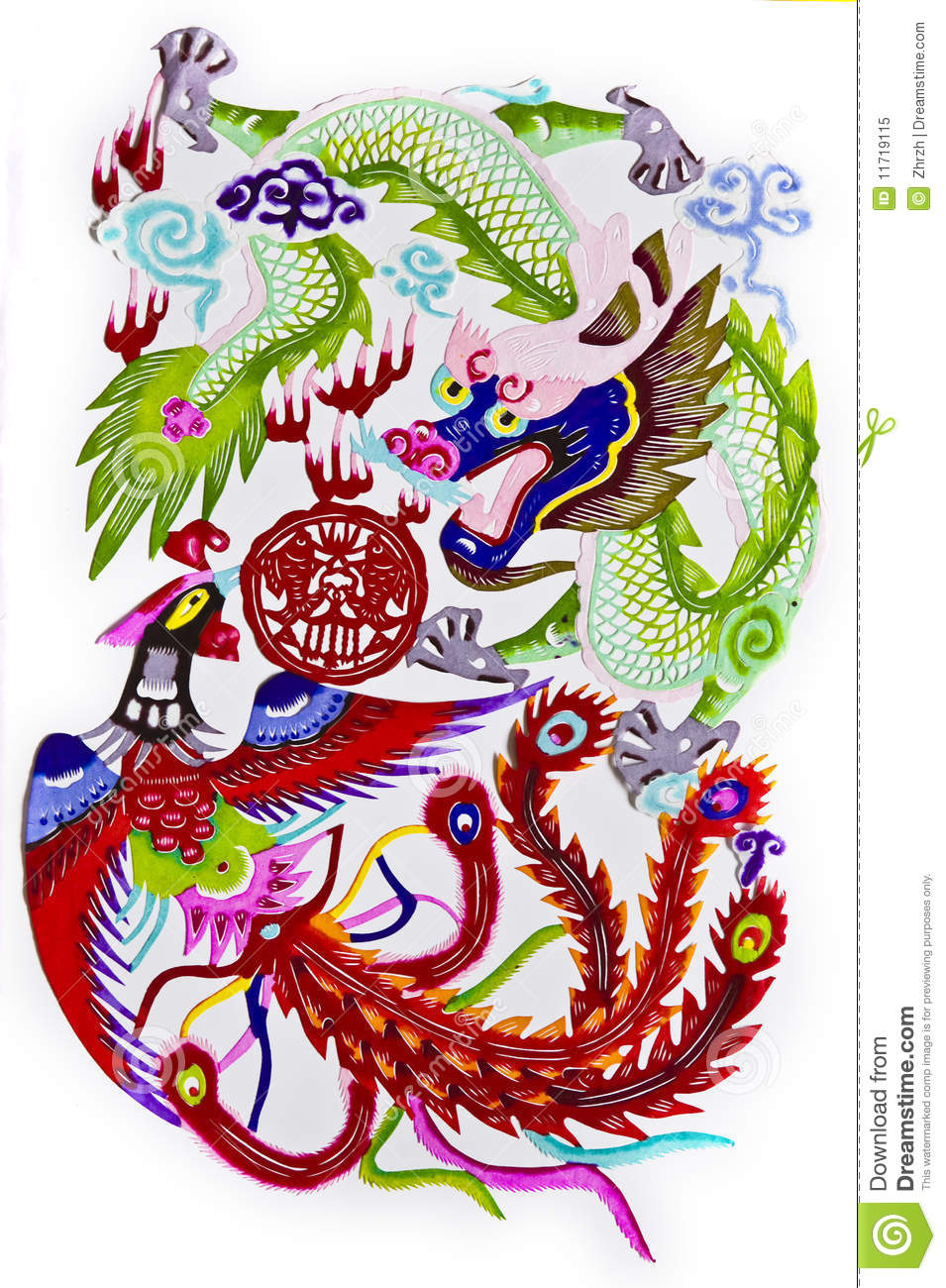 Dragon phoenix royalty free stock photo image 11719115 for Chinese paper cutting templates dragon